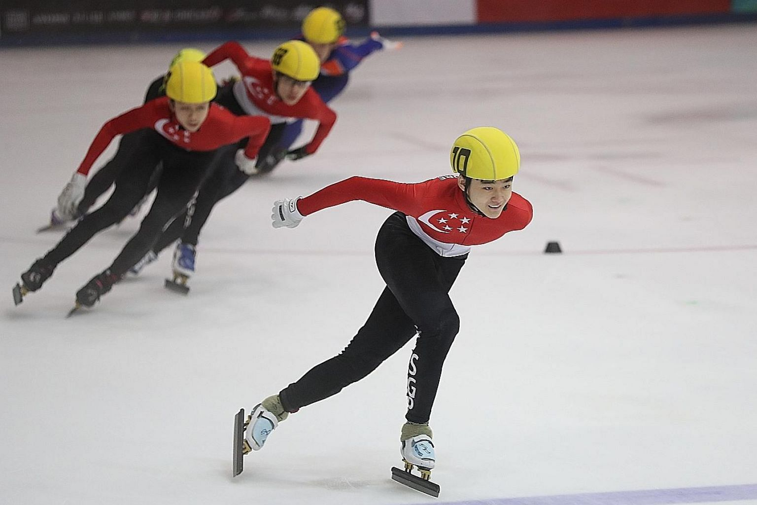 Trevor Tan en route to winning the Junior B Men's 1,000m at the SEA Open Short Track Trophy yesterday. Besides looking to qualify for the 2022 Winter Olympics, Trevor has also set his sights on doing well at the SEA Games in the Philippines at the en