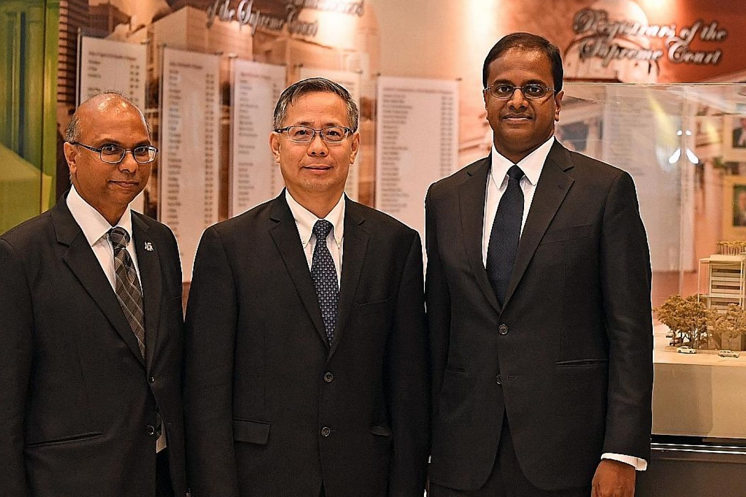 (From left) Mr Gregory Vijayendran, Mr Foo Chee Hock and Mr Siraj Omar were among those appointed Senior Counsels yesterday. They advise junior lawyers to keep believing in their dreams, use their knowledge of the law to help their clients and to con
