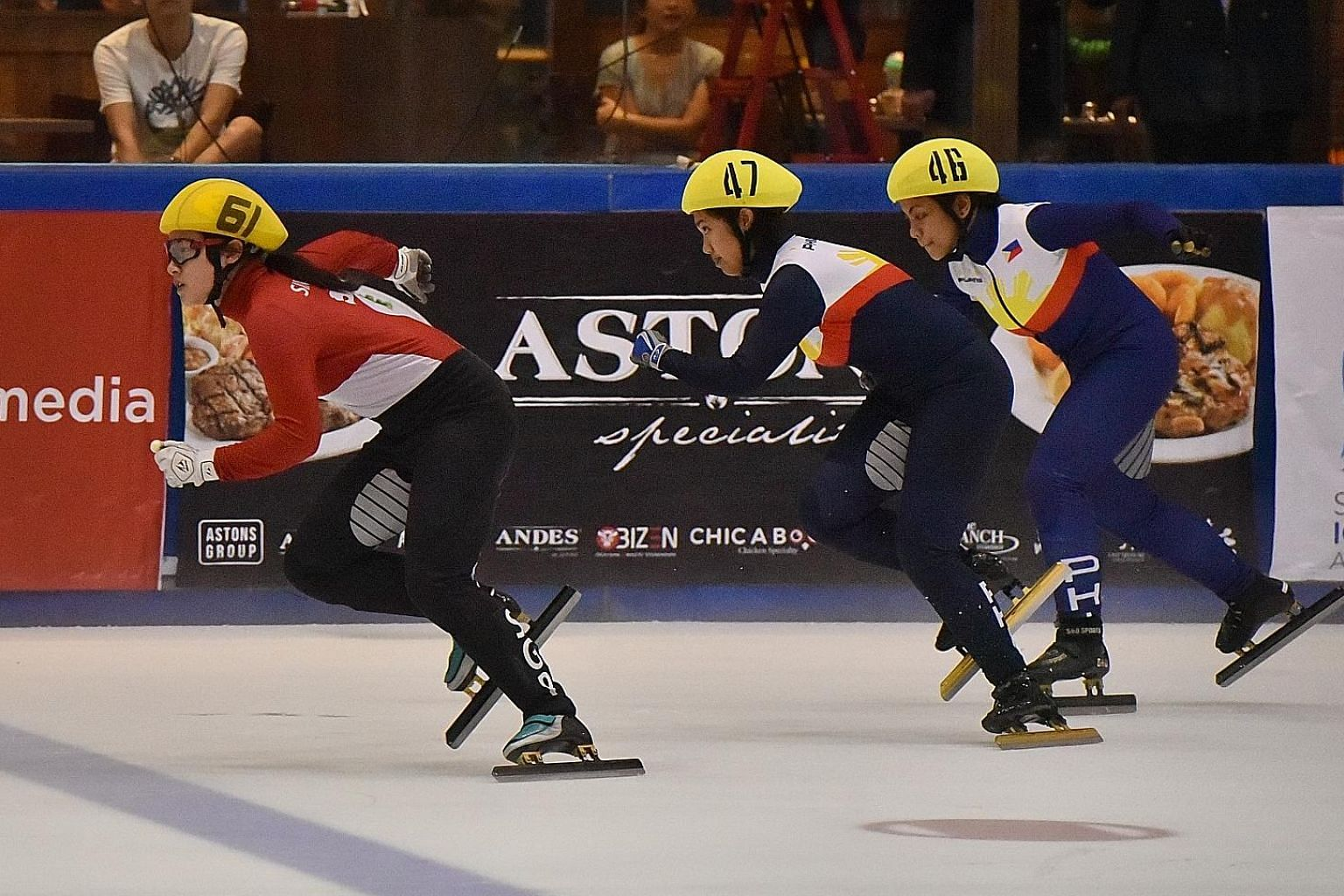 Singapore's first Winter Olympian Cheyenne Goh (far left) leading the pack on the way to winning the women's 500m final at the SEA Open Short Track Trophy women's last Saturday. The Philippines' Kathryn Magno (No. 47) was second and compatriot Anna L