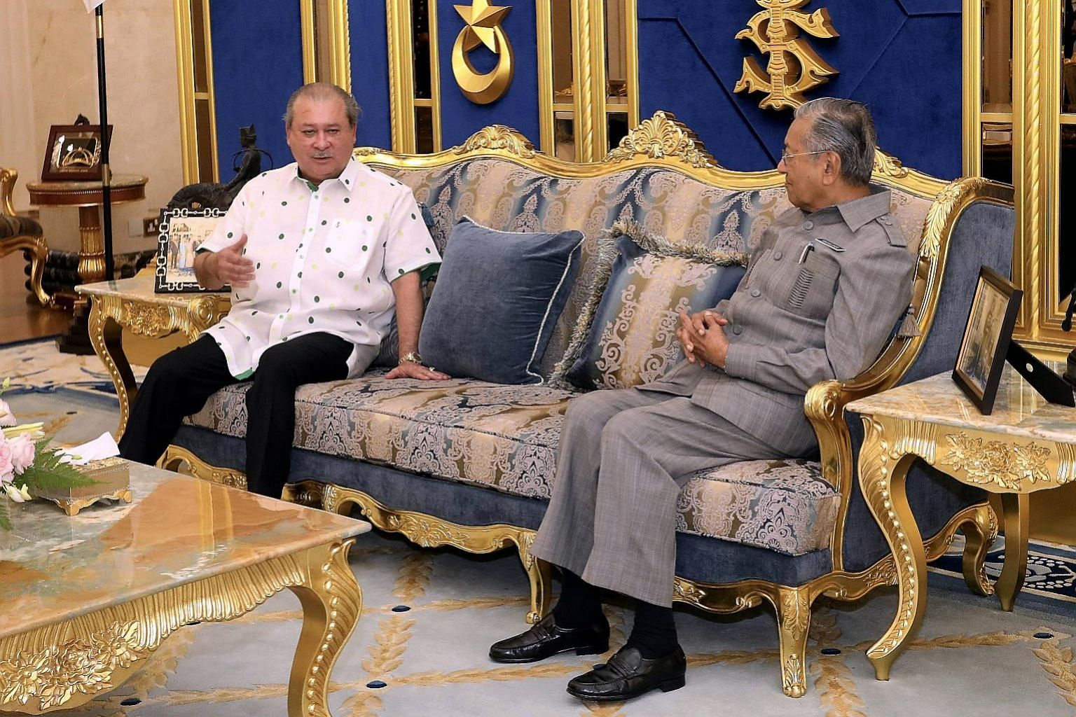 Malaysian Prime Minister Mahathir Mohamad with Johor's Sultan Ibrahim Sultan Iskandar at Istana Bukit Serene in Johor Baru yesterday. According to a source from the Malaysian Prime Minister's Office, the meeting was held following a request by Sultan