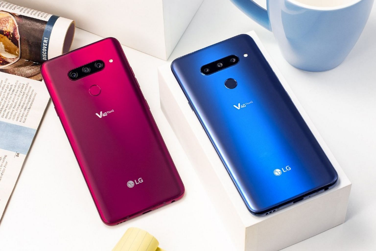 The LG V40 ThinQ has five cameras - three rear cameras and two front cameras. PHOTO: LG