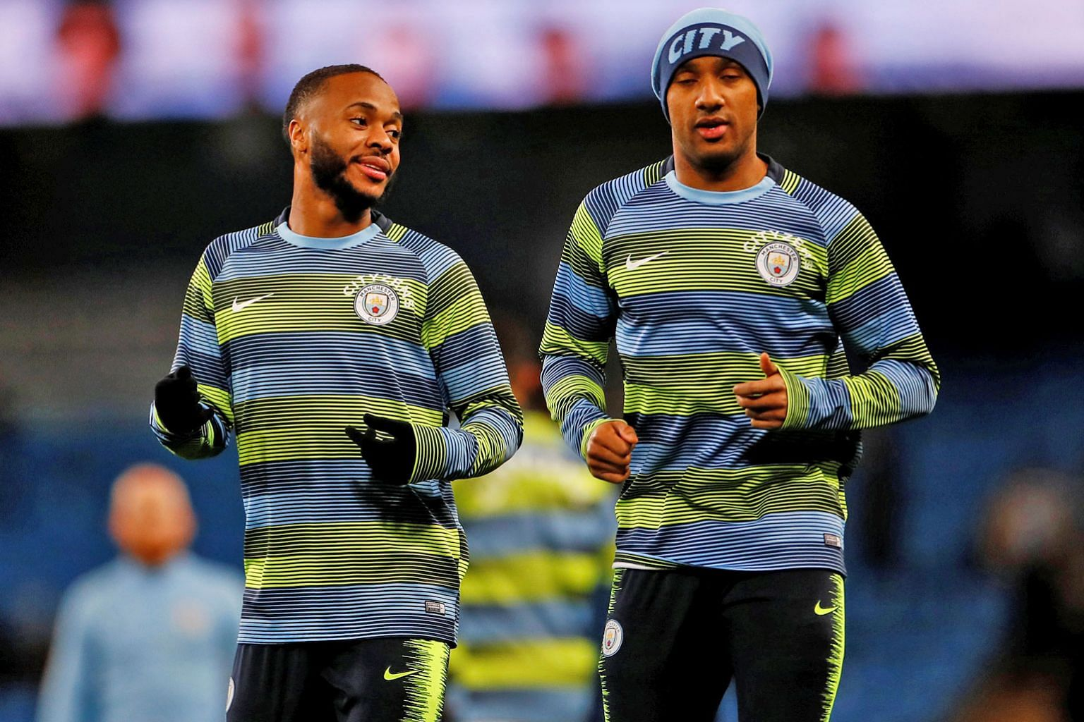 Pep Guardiola has confirmed that his Manchester City players, including Raheem Sterling (left) and Fabian Delph, have a clean bill of health.