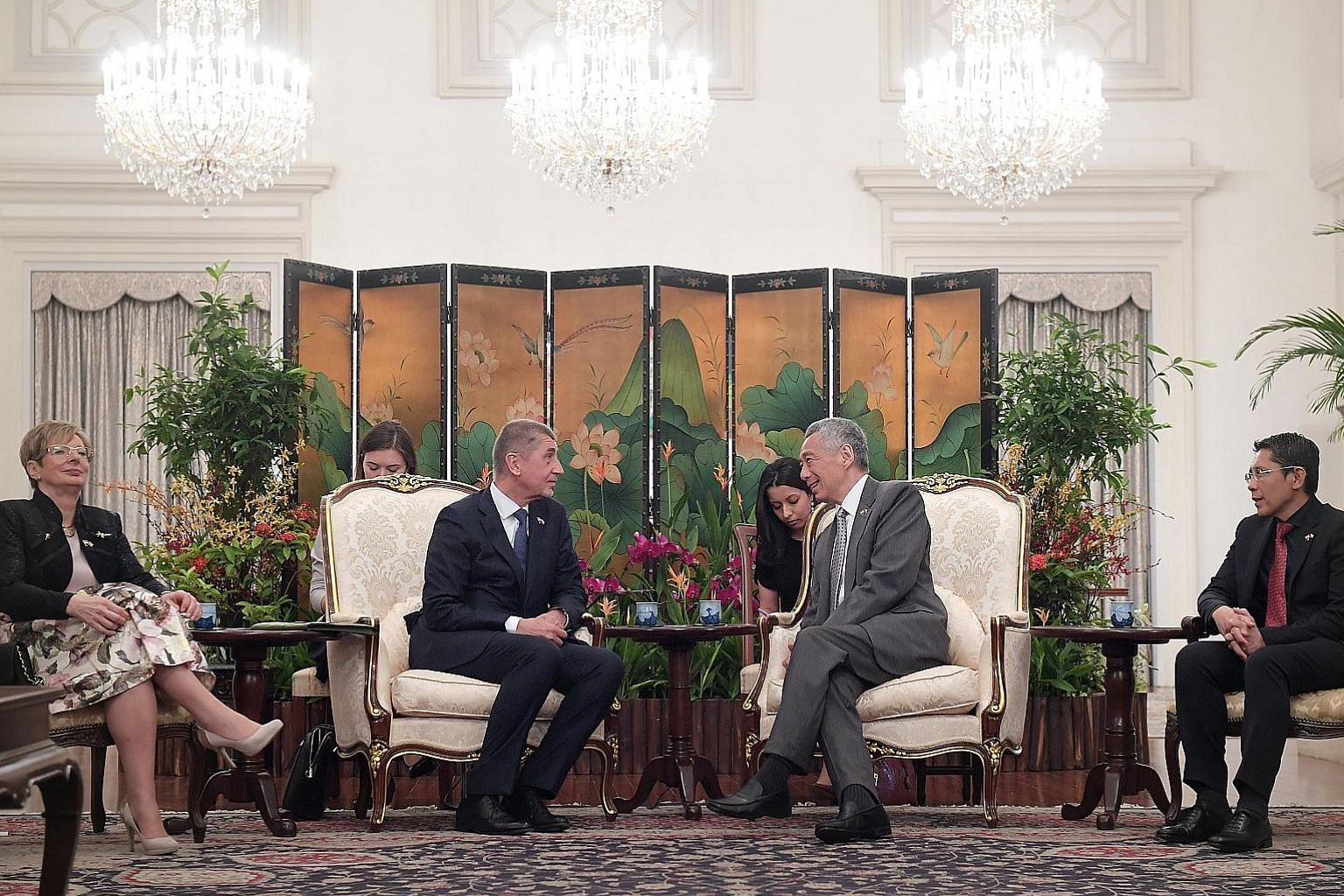 Prime Minister Lee Hsien Loong meeting Czech Republic Prime Minister Andrej Babis at the Istana yesterday. They discussed growing collaborations between the two countries, and areas to enhance the relationship, including trade, technology and researc