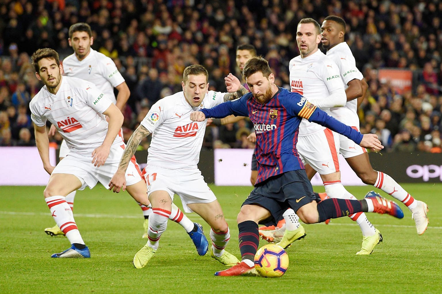 Lionel Messi scoring Barcelona's second goal against Eibar at the Nou Camp on Sunday. It was his 400th LaLiga goal after just 435 games.