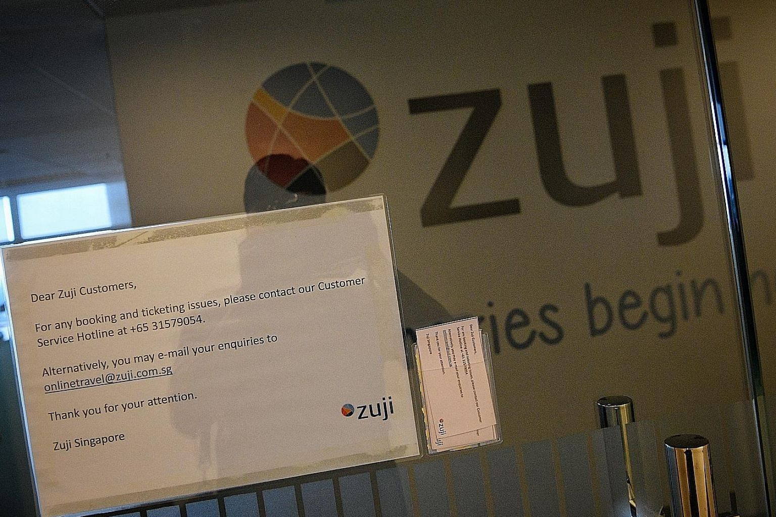 The only trace of Zuji's presence when The Straits Times visited its office yesterday was a note to its customers posted on the door. The Singapore Tourism Board said Zuji's licence lapsed on Dec 31 last year, and it can no longer provide travel prod