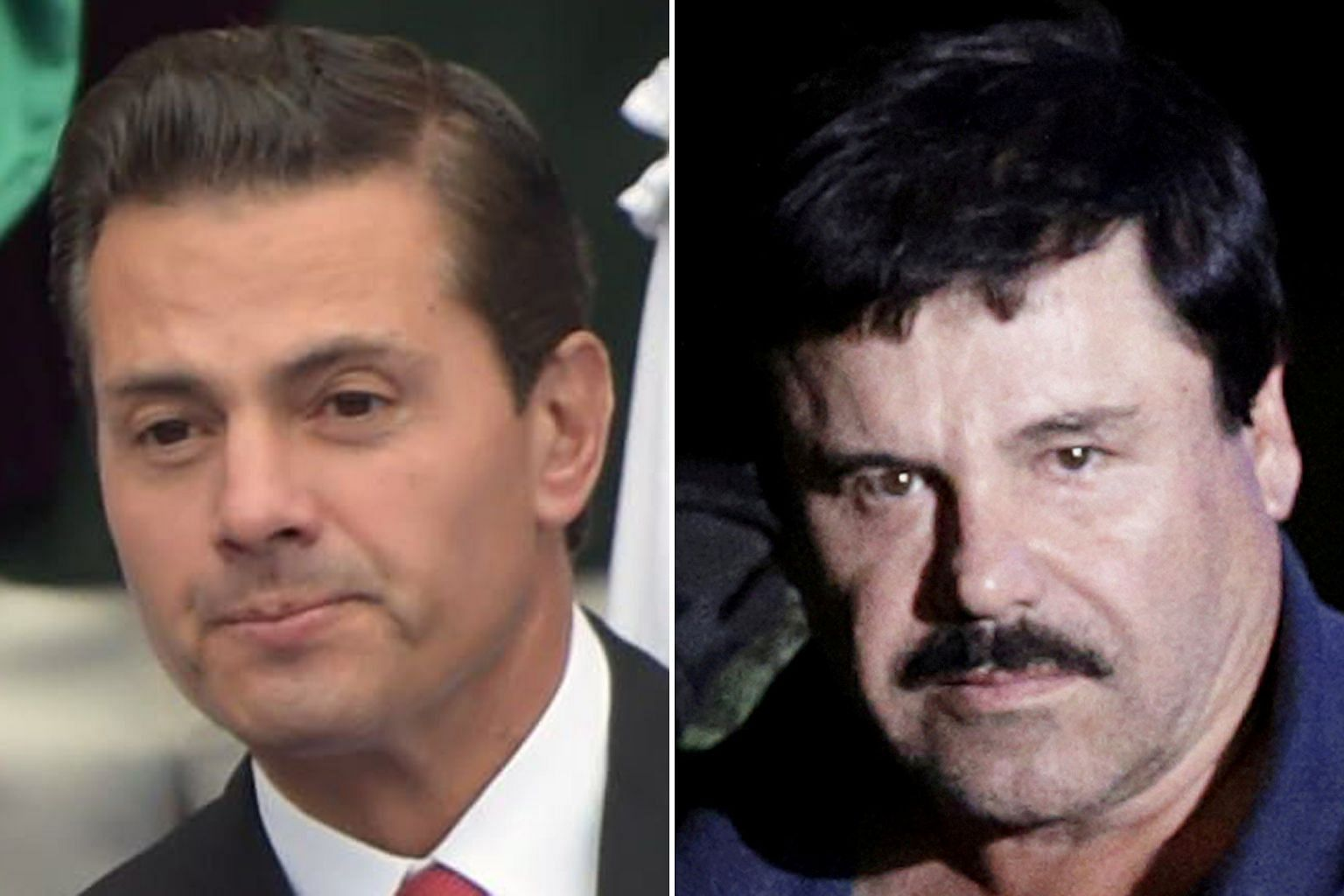 Former Mexican president Enrique Pena Nieto (left) allegedly reached out to Joaquin Guzman Loera in 2012.
