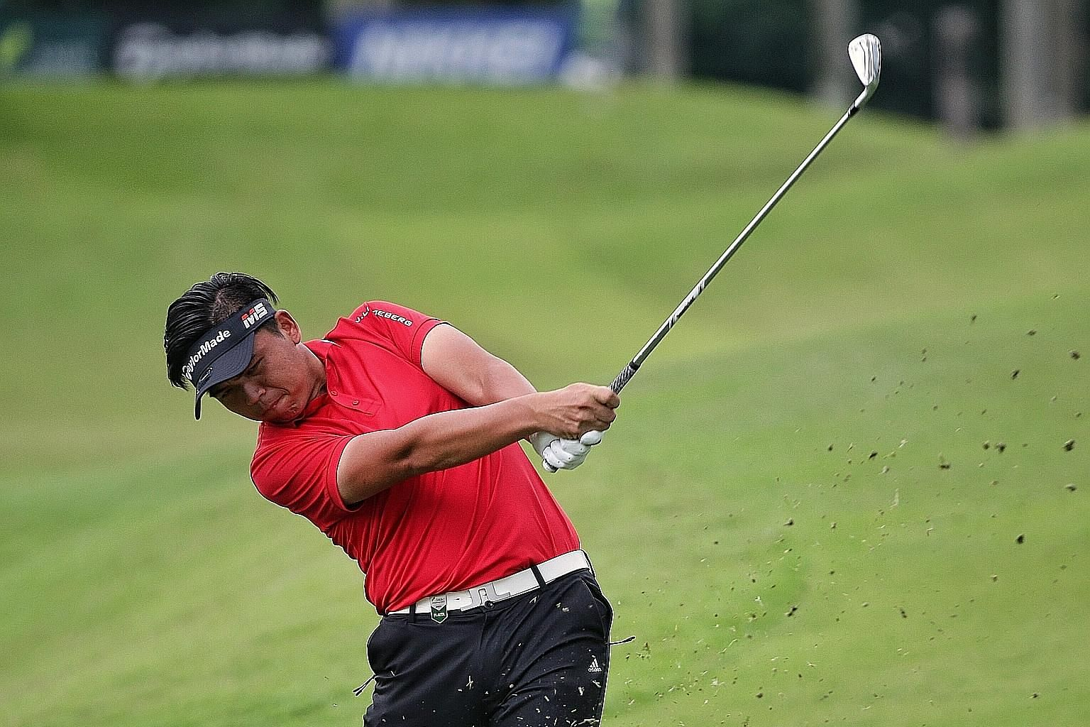 Hung Chien-yao of Chinese Taipei on the ninth hole during the first round of the SMBC Singapore Open. He signed for a five-under 66 after recording an eagle and four birdies to go with a bogey.