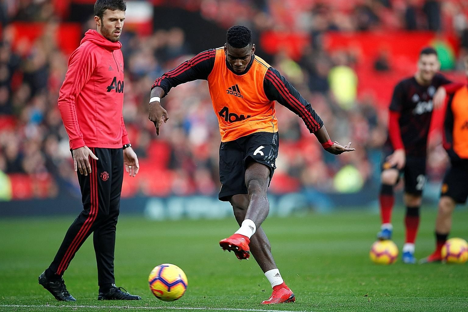 Manchester United midfielder Paul Pogba has been impressive under the guidance of caretaker manager Ole Gunnar Solskjaer and his assistant Michael Carrick (left), scoring four league goals and recording four assists in his last five matches.