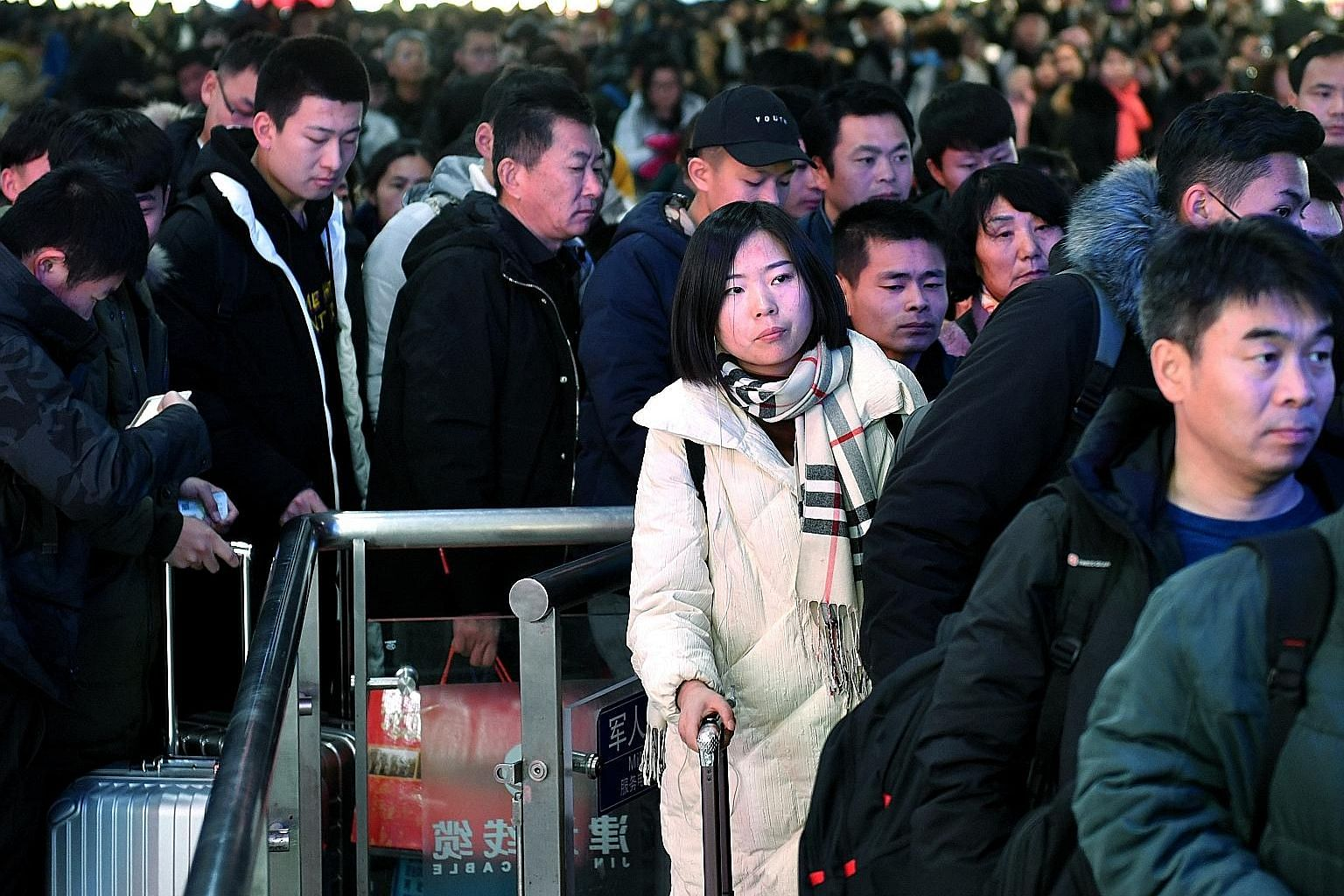 The Jinan train station in eastern China's Shandong province seeing its first peak passenger volume last Thursday before the Spring Festival travel rush begins.
