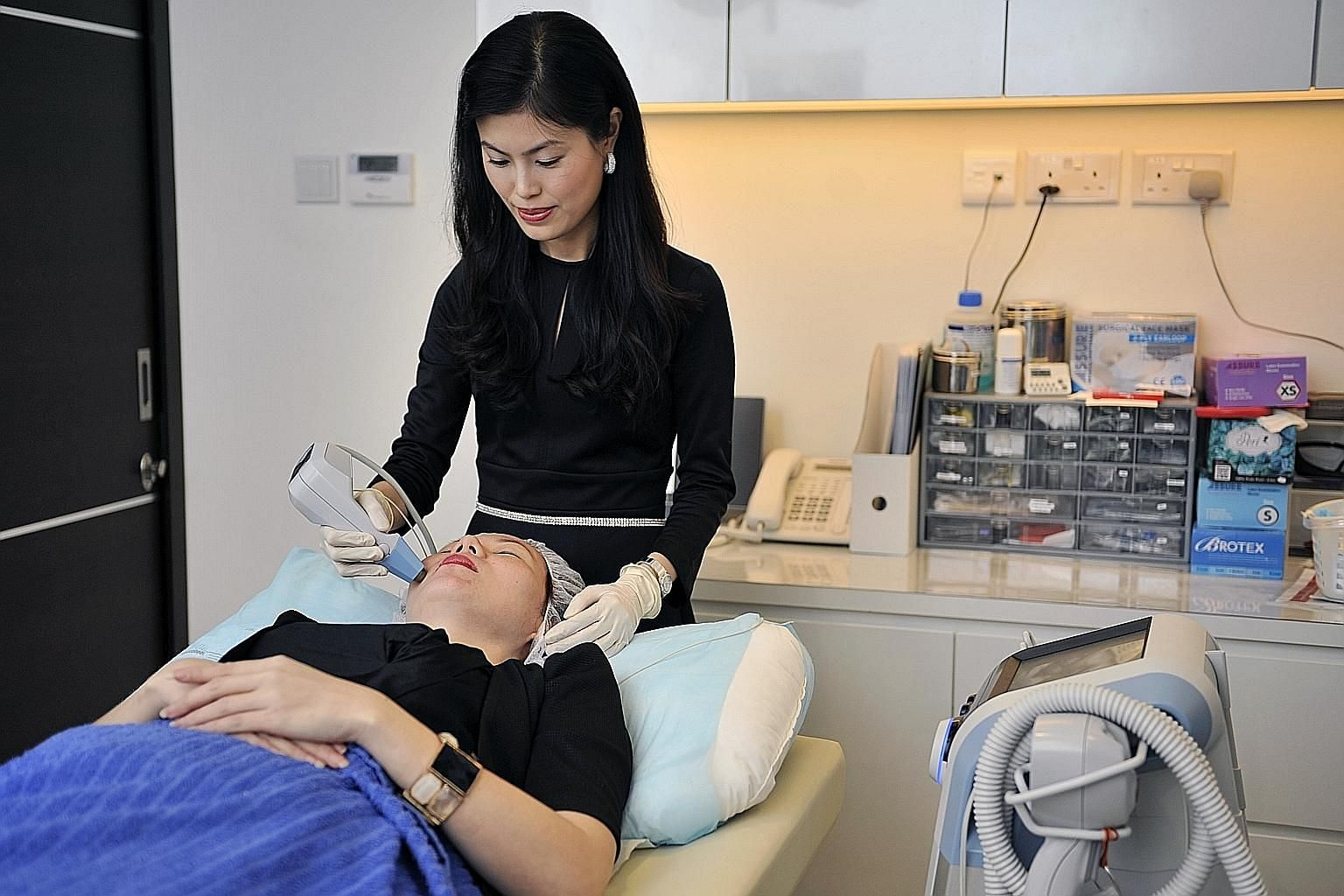 Laser resurfacing uses laser to remove the outermost layers of skin to improve appearance.