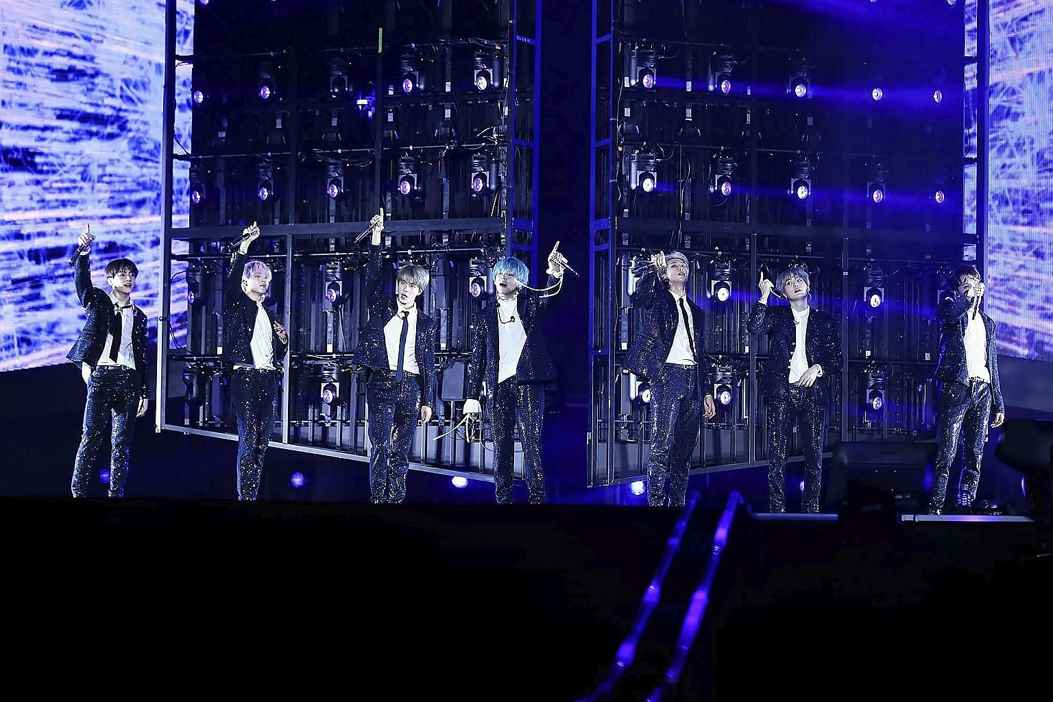 Fans were thoroughly entertained by South Korean boyband BTS, which comprise (from far left) Jungkook, Jimin, Jin, V, RM, Suga and J-Hope.