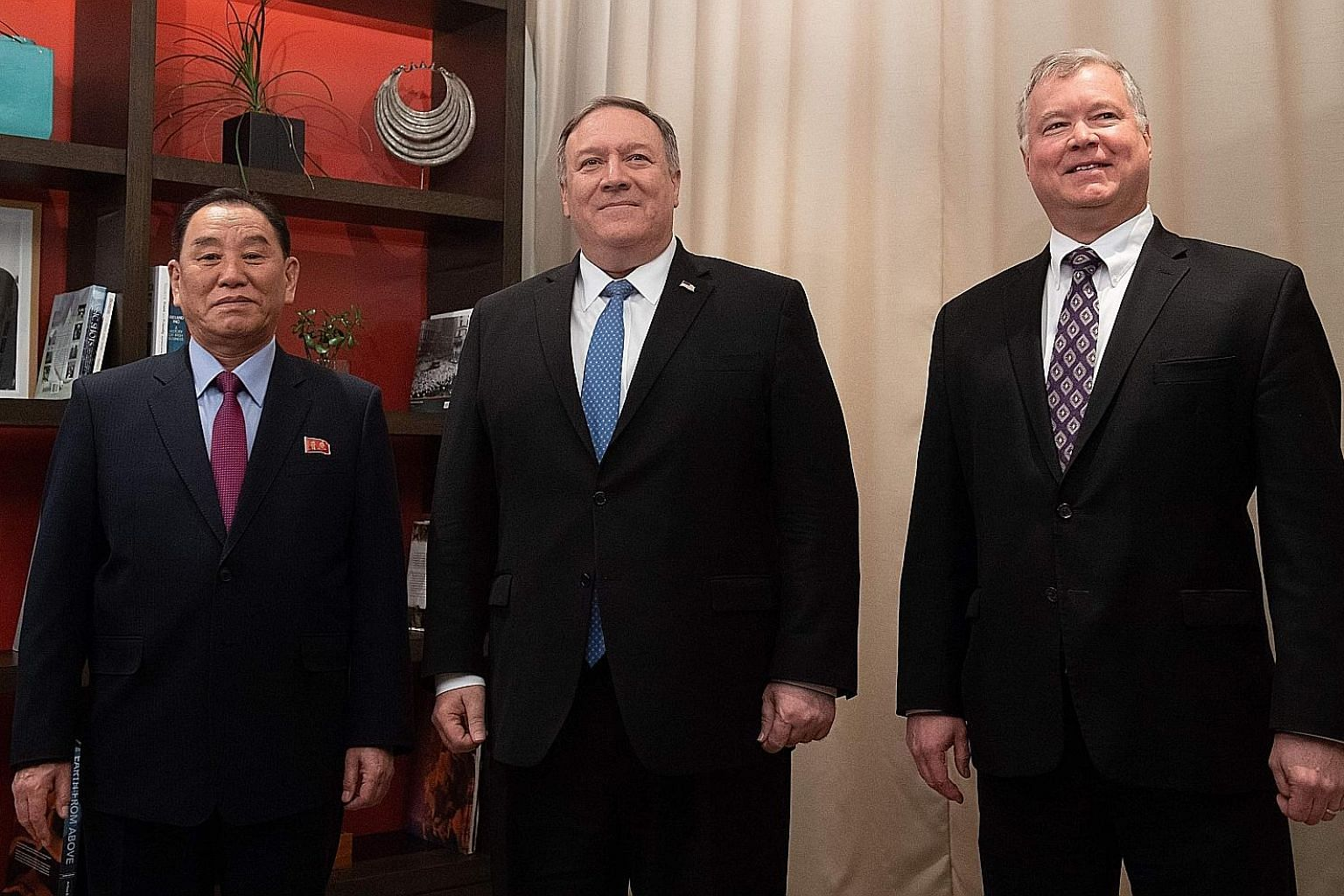 US Secretary of State Mike Pompeo flanked by US Special Representative for North Korea Stephen Biegun and North Korean Vice-Chairman Kim Yong Chol before a meeting in Washington, DC, last Friday.