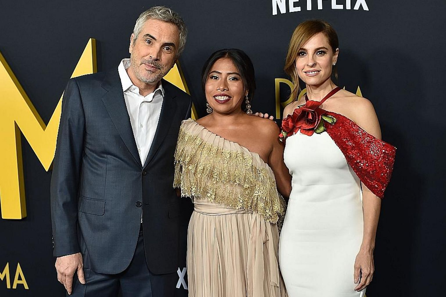 From far left: Oscar nominees Alfonso Cuaron (Best Director), Yalitza Aparicio (Actress in a Leading Role) and Marina de Tavira (Actress in a Supporting Role) of Roma, a mostly Spanish drama from streaming platform Netflix which bagged 10 nominations