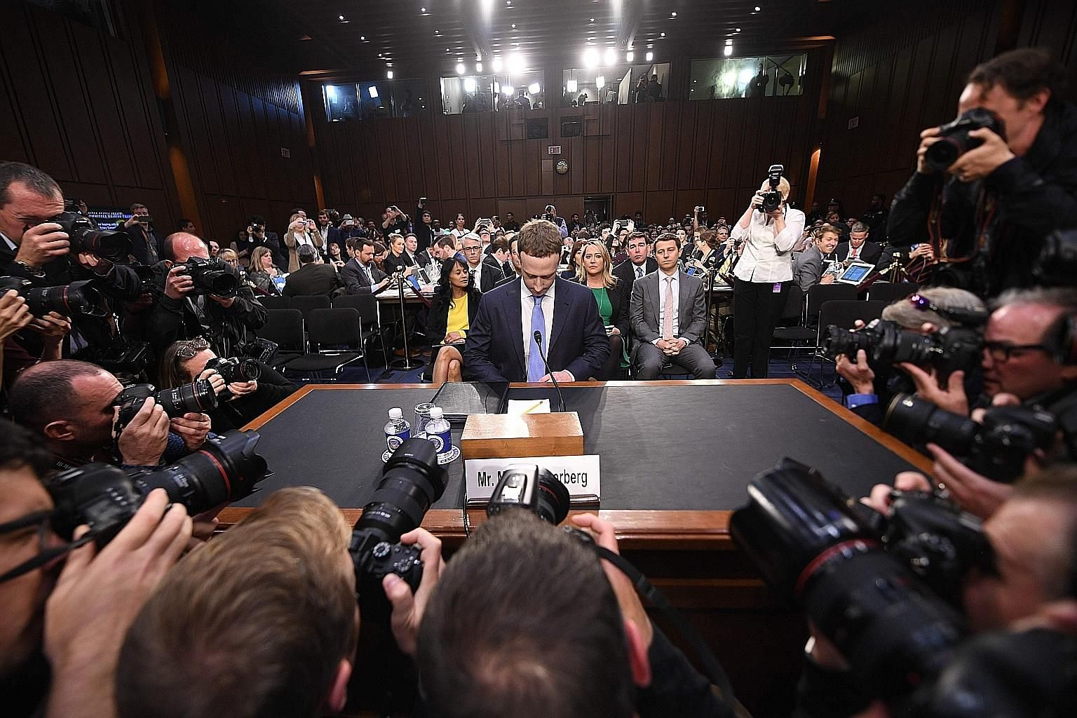Facebook chief executive Mark Zuckerberg testifying before lawmakers in Washington last April, over his company's data breach scandal. It recently emerged that he had mulled over selling user data in 2012 and 2014, notwithstanding his promise in 2009