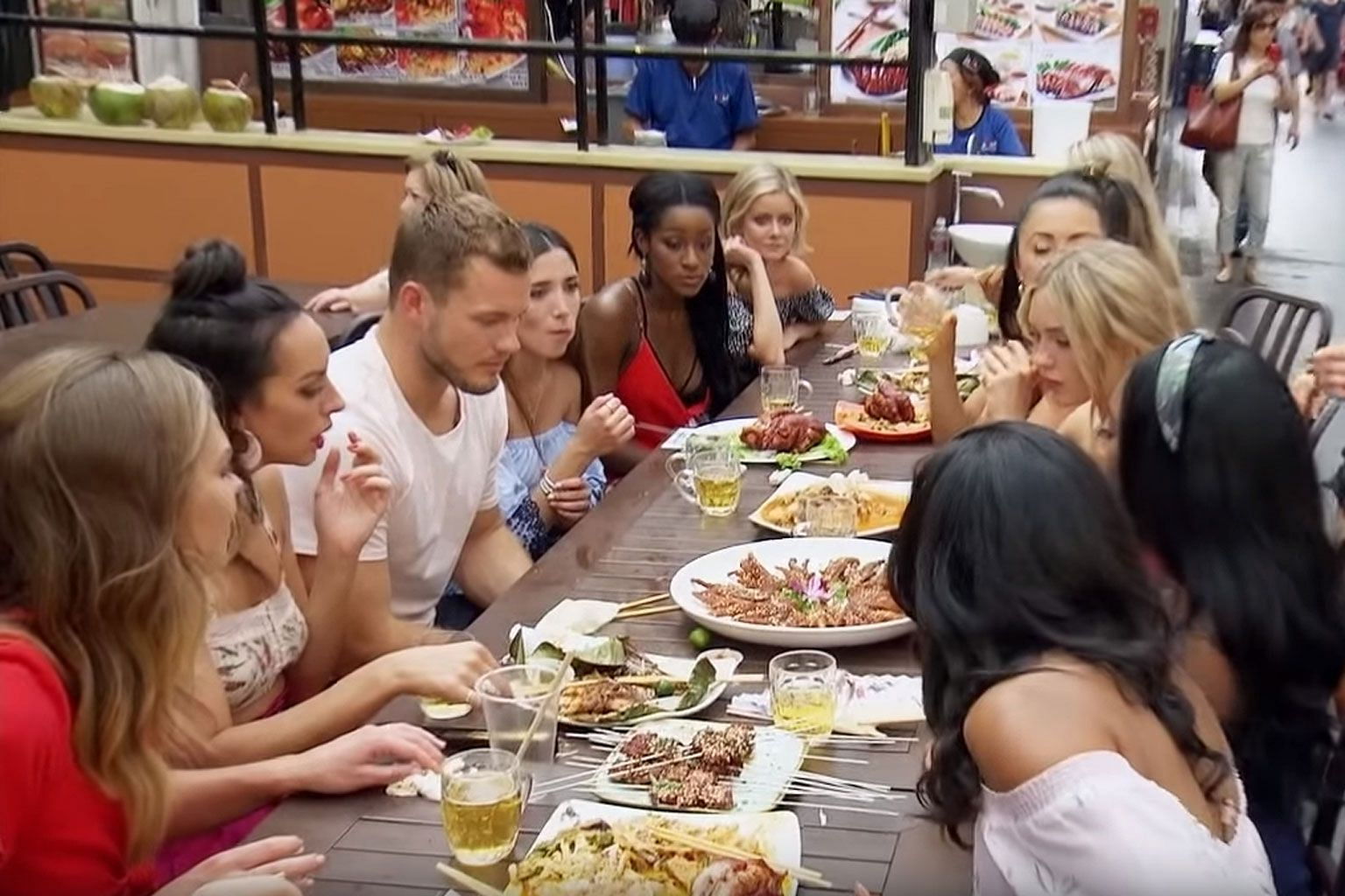 In the fourth episode of The Bachelor, contestants sat at a long table and rehashed ugly American stereotypes about Asian dishes.