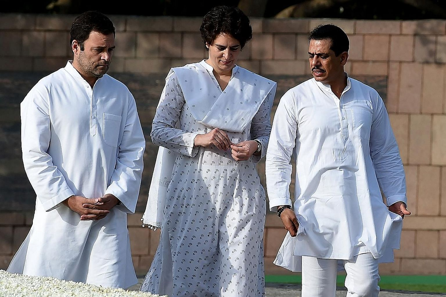India's Congress party president Rahul Gandhi (left) with his sister Priyanka Gandhi and her husband Robert Vadra at a memorial ceremony for former Indian prime minister Rajiv Gandhi in New Delhi last May. Ms Gandhi is due to hold her first press con