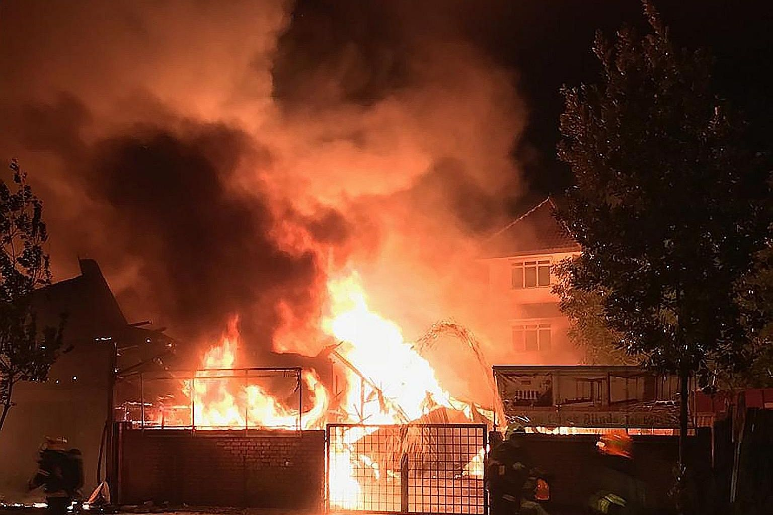 A fire engulfed a furniture shop at 135 Upper East Coast Road early yesterday morning.