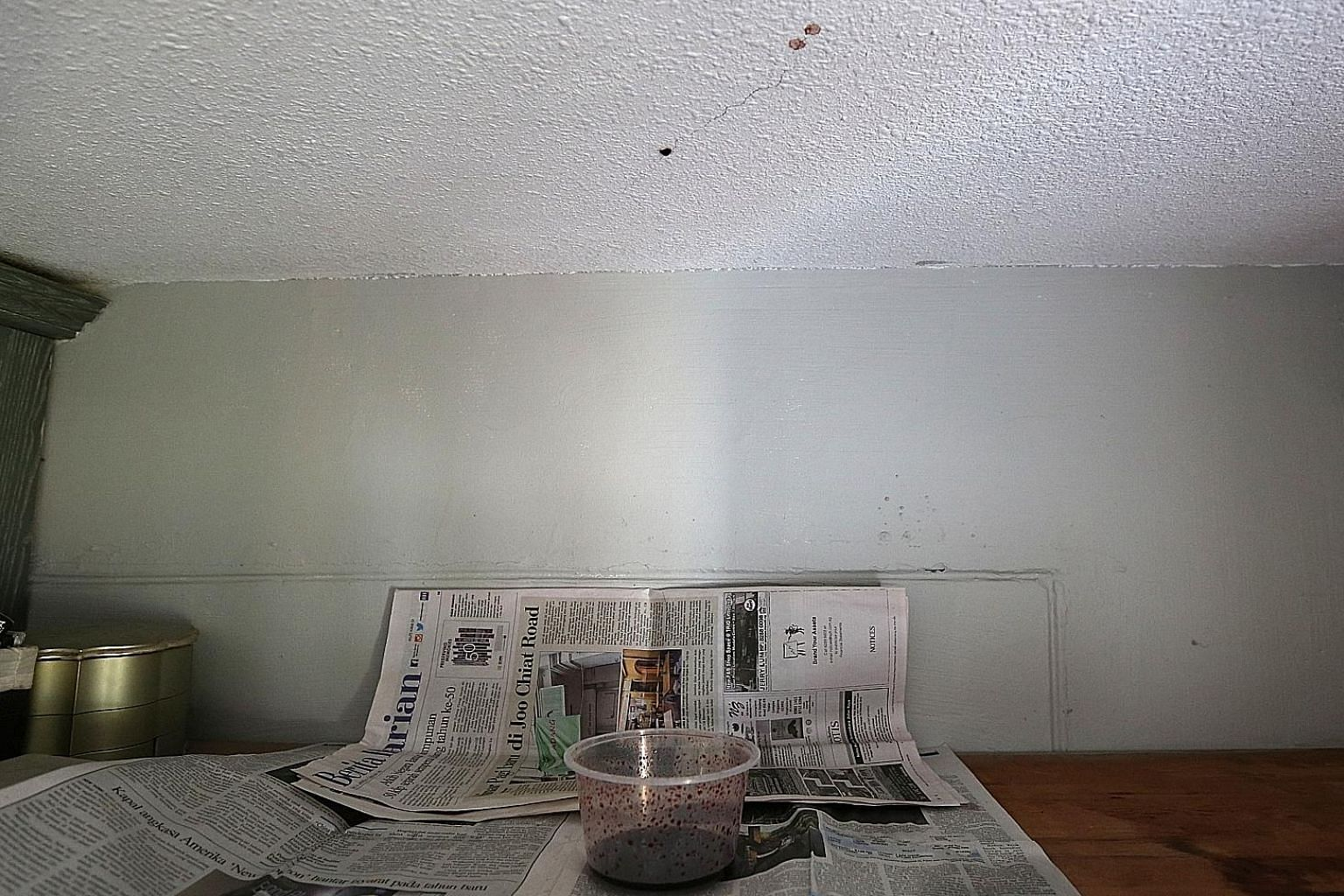The blood (above) from an elderly man's decomposing body seeped through the ceiling of a flat below his unit in Tampines last Tuesday because of the porous nature of the concrete. The ceiling of the flat belonging to his neighbour Ms Jamilah (right)
