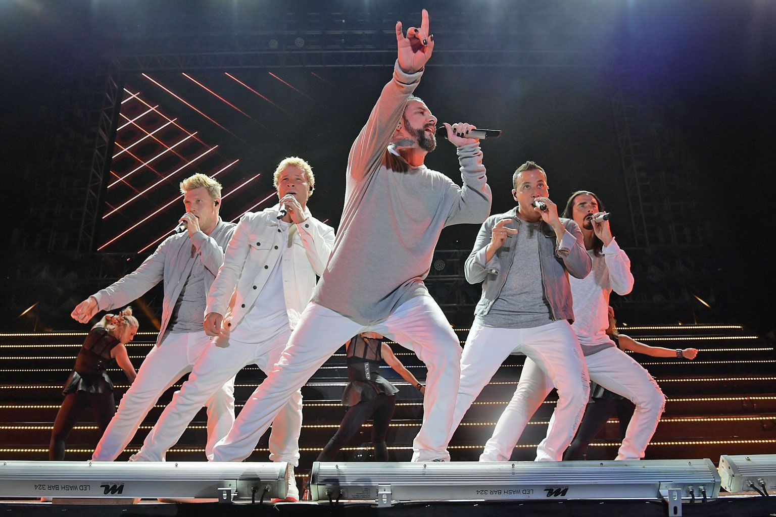 Backstreet Boys' (from far left) Nick Carter, Brian Littrell, AJ McLean, Howie Dorough and Kevin Richardson performed at the National Stadium in October 2017.