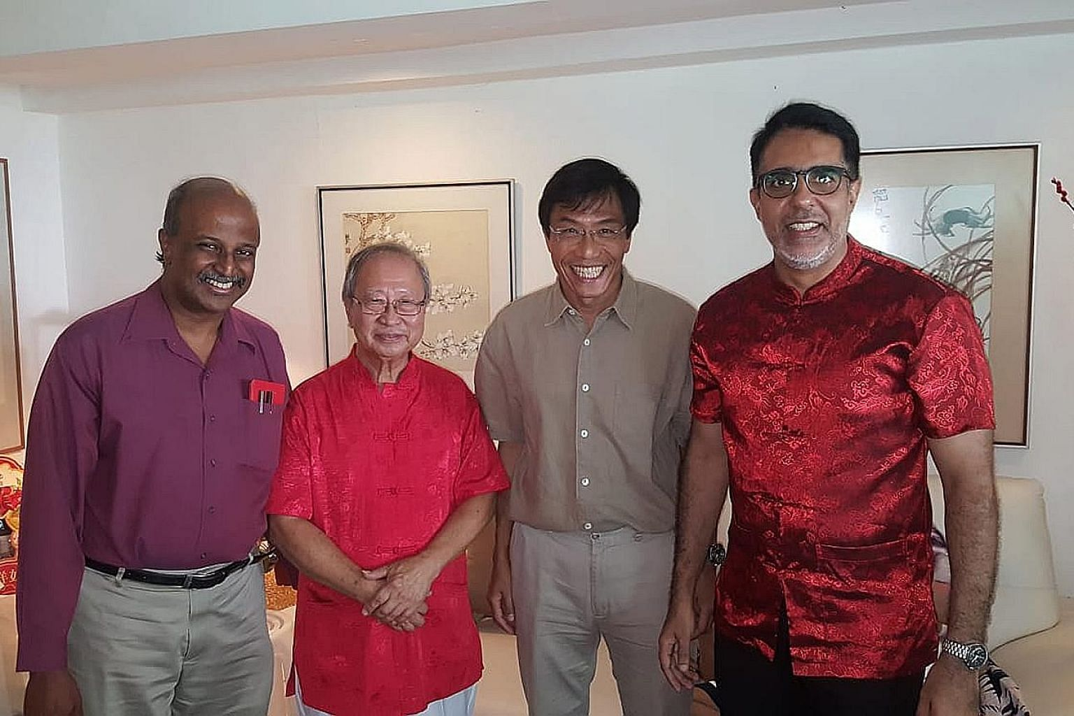 Singapore Democratic Party (SDP) chairman Paul Tambyah (left) posted a photo on Facebook of the gathering of opposition leaders (from second left) Dr Tan Cheng Bock, SDP chief Chee Soon Juan and Workers' Party chief Pritam Singh. Also present were Pe