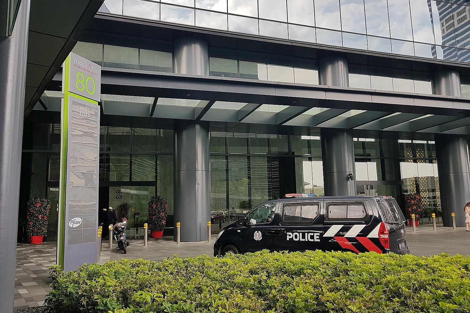 A police vehicle was spotted in the driveway of Mapletree Business City yesterday, where Wirecard has an office.
