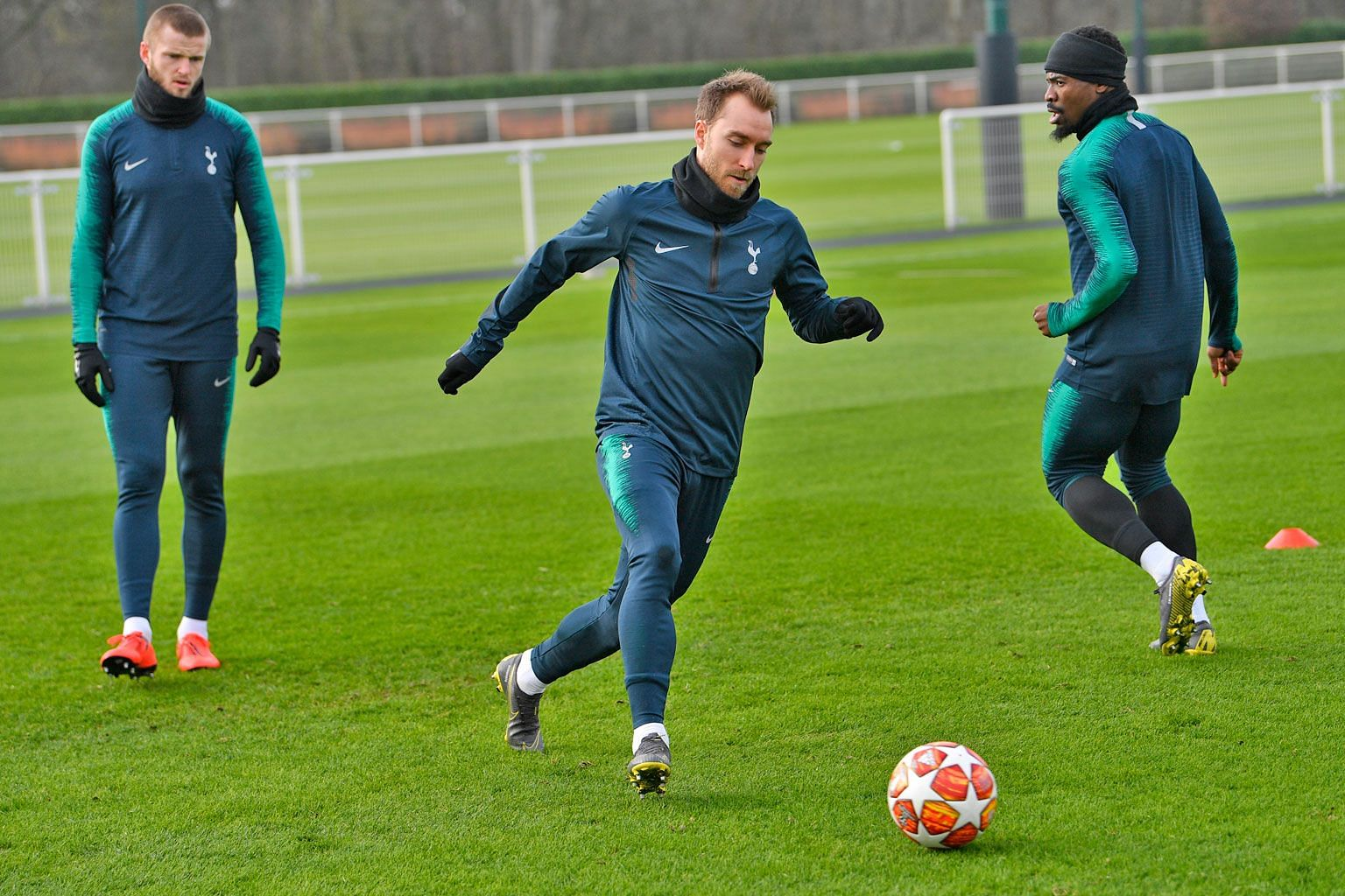 Spurs players (from far left) Eric Dier, Christian Eriksen and Serge Aurier training before facing Dortmund in their last-16 first leg in the Champions League today. The club last won a trophy - the League Cup - 11 years ago.