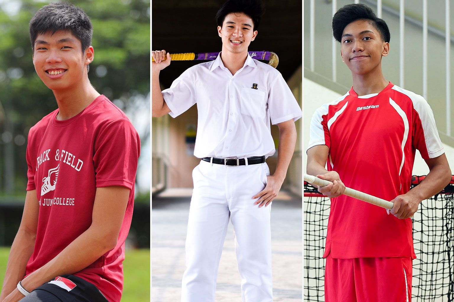 From far left: High jumper Kampton Kam, hockey player Sean See and floorballer John Alicante Embile are among five nominees for The Straits Times' Young Athlete of the Year award.