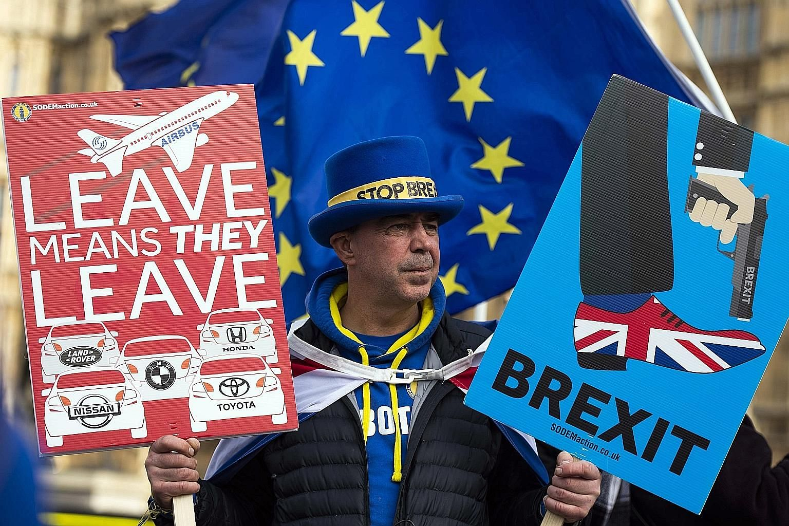 An anti-Brexit protester outside Britain's Houses of Parliament on Tuesday. British Prime Minister Theresa May continues to promise that she will negotiate a better deal for Brexit although none of the EU leaders is prepared to offer any concession.