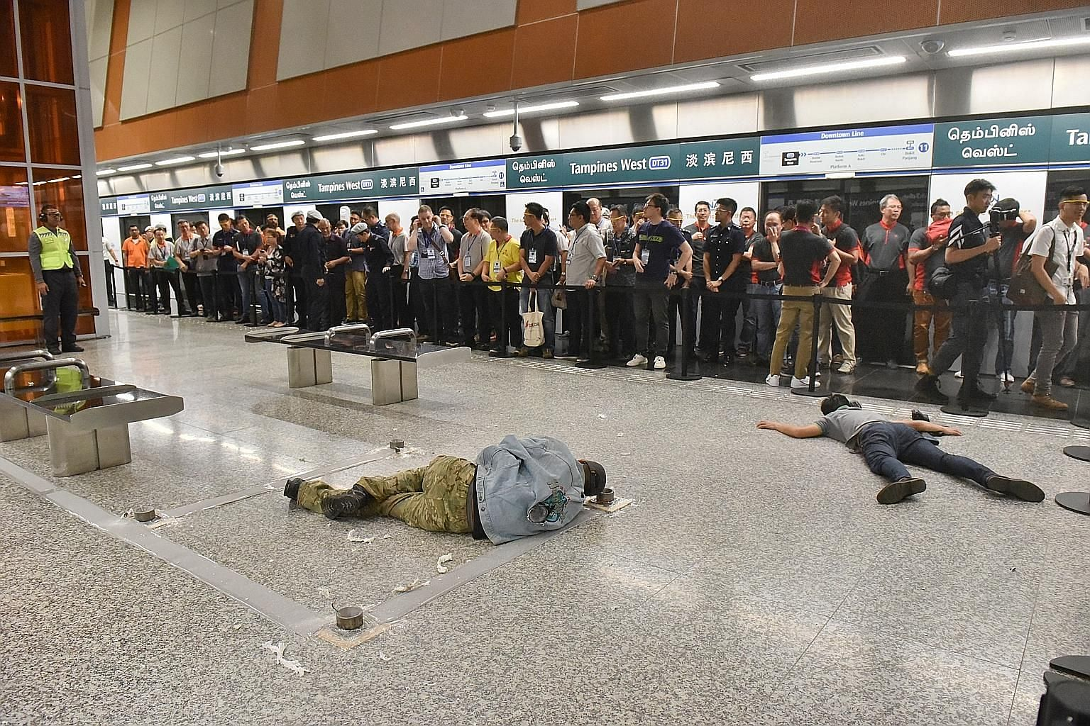 A simulated terrorist attack at Tampines West MRT station last month involved more than 120 officers from various agencies and public transport workers. Senior Minister of State for Transport Janil Puthucheary said in Parliament yesterday that LTA an