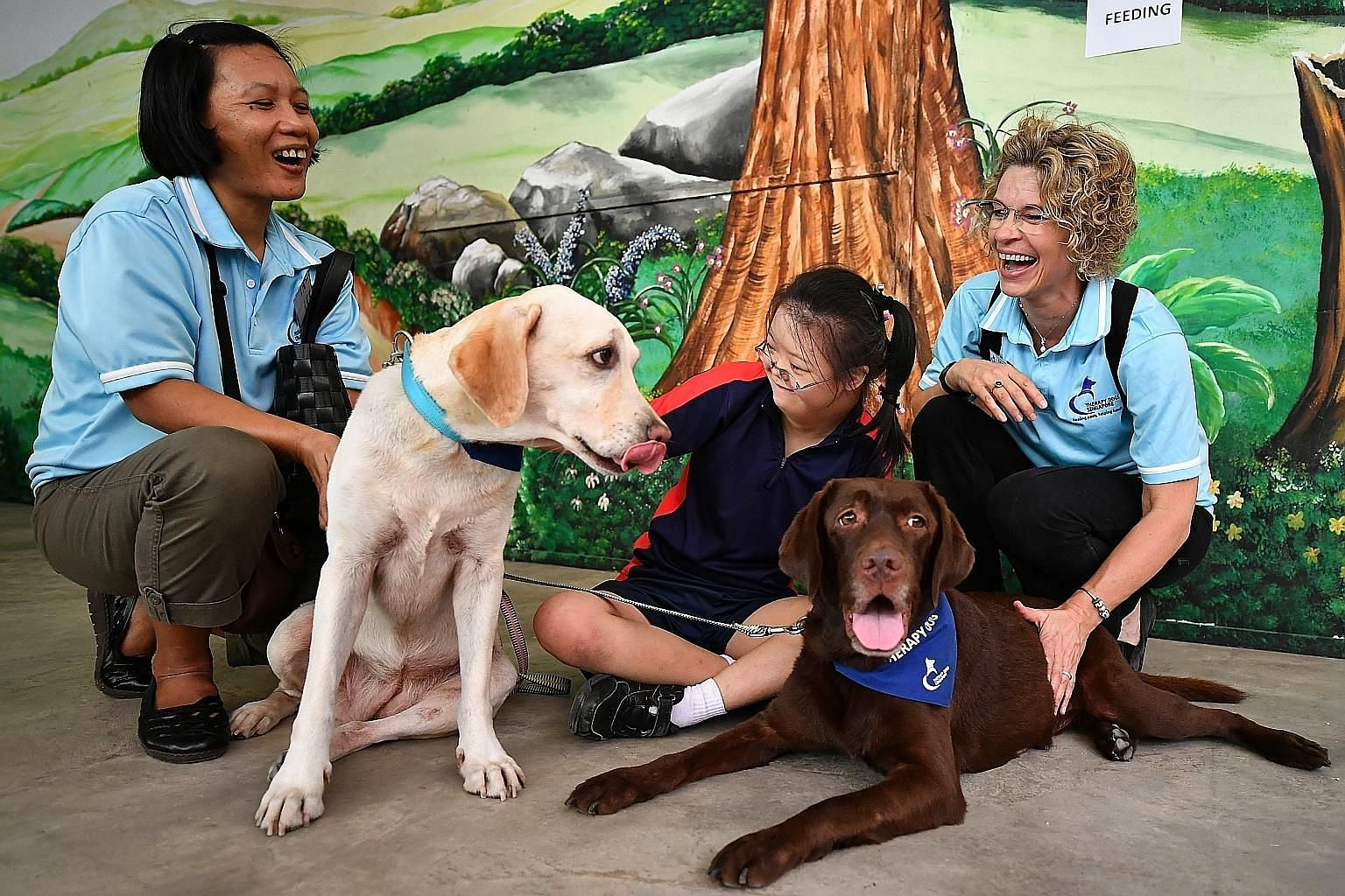 From left: Ms Teresita Tayaban, with her dog Baloo, Cathryn Chan, 15, from Minds' Fernvale Gardens School, and Mrs Kit Heeremans, with her dog Mowli, during the dog therapy session at the book launch yesterday.