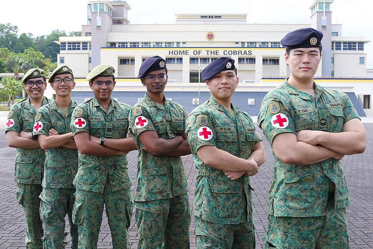 (From left) Cpl Joseph Andrei Aczon Dacanay, 3SG Ni Xu Gang Metta, Cpt (Dr) Vikram Manian, Cpl B. Aravind Krishna, LCP David Lee Wei Ming and Cpl Kinson Tan Kai Feng went to the aid of the injured man.