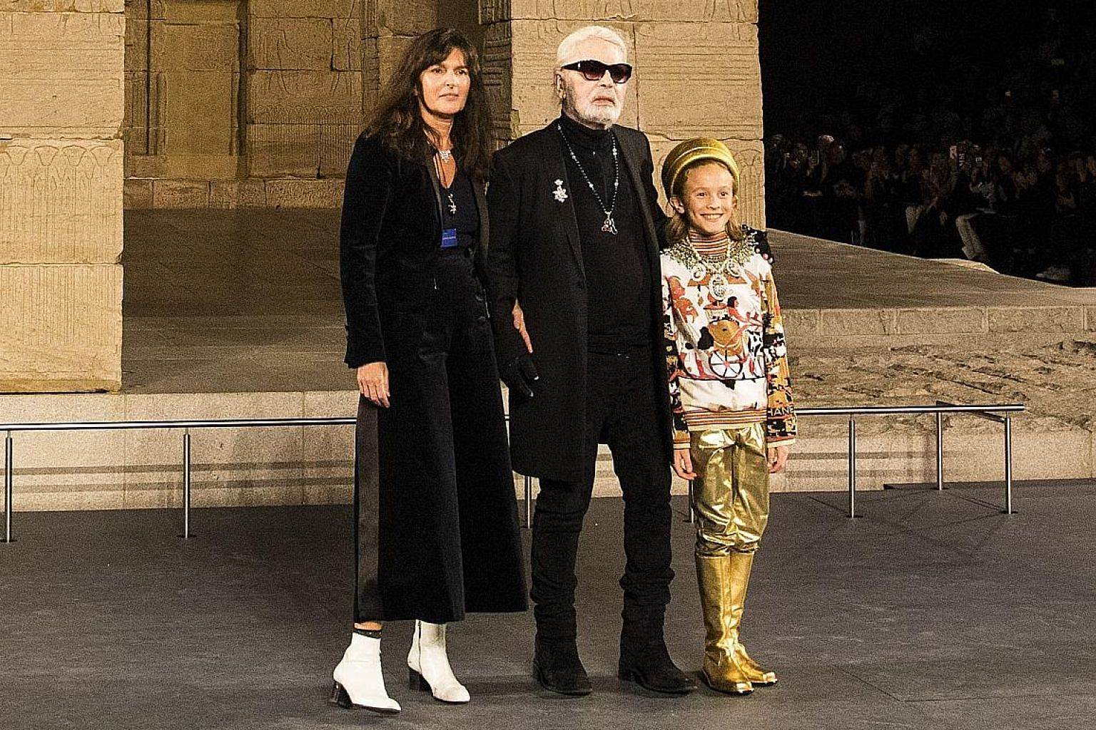 Karl Lagerfeld with Virginie Viard and Hudson Kroenig, his godson, at the Chanel Metiers D'Art show in New York in December. She has become Chanel's new creative director.