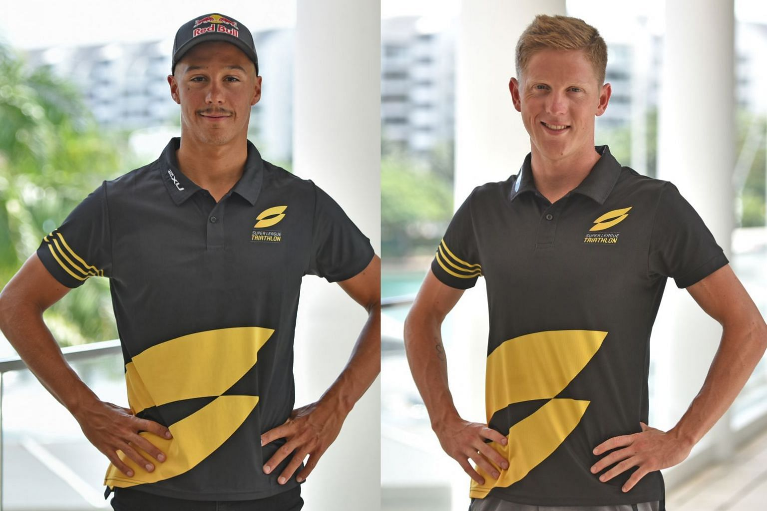 Series leader Vincent Luis (left) will be out to keep challenger Henri Schoeman at bay in the finale of the Super League Triathlon starting today at the One°15 Marina.