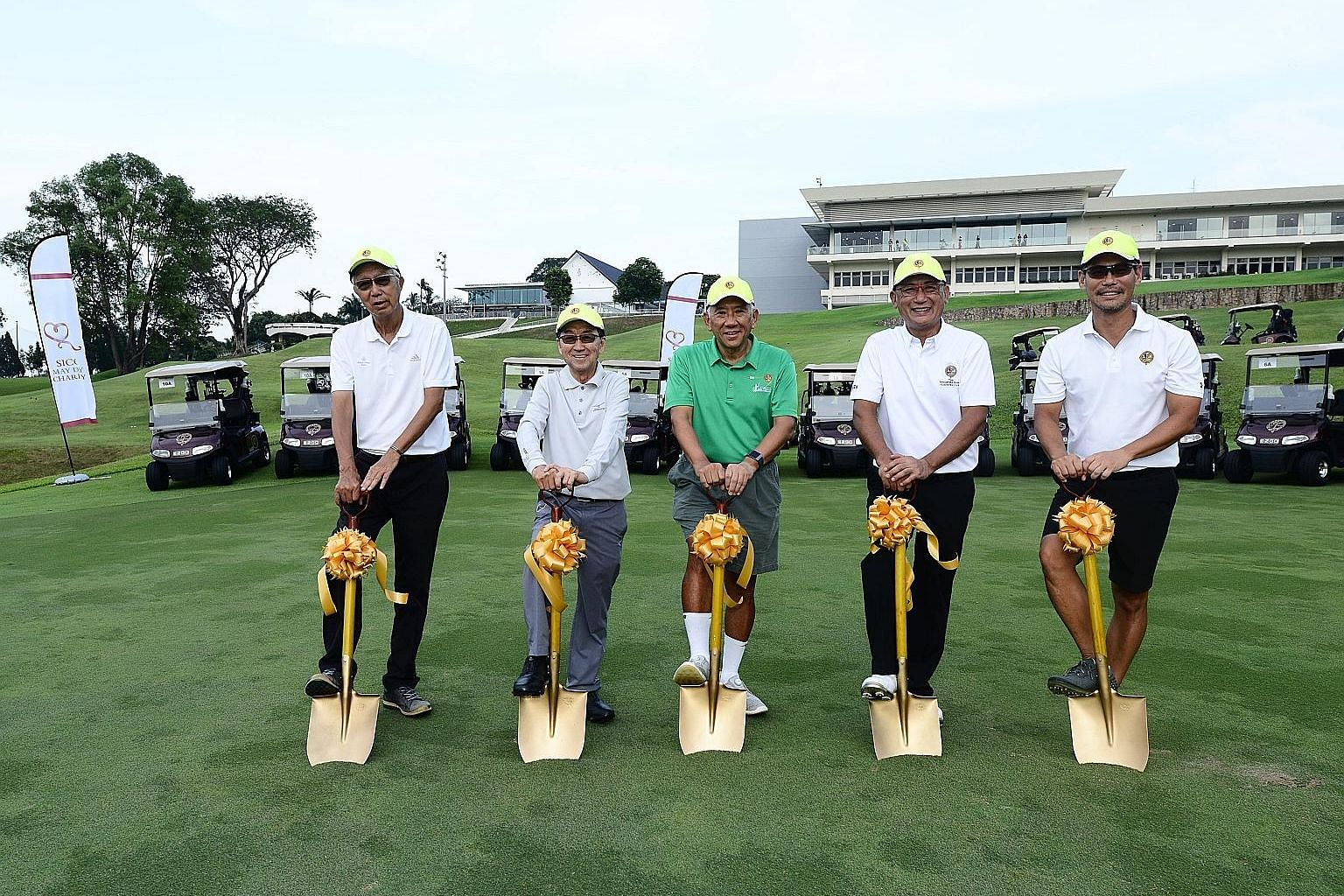 (From left) The Singapore Island Country Club (SICC) golf redevelopment and planning committee chairman Kenneth Chen, deputy chairman Tay Joo Soon, chairman Khoo Boon Hui, president Andrew Low and club captain Ivan Chua posing on the New Course yeste
