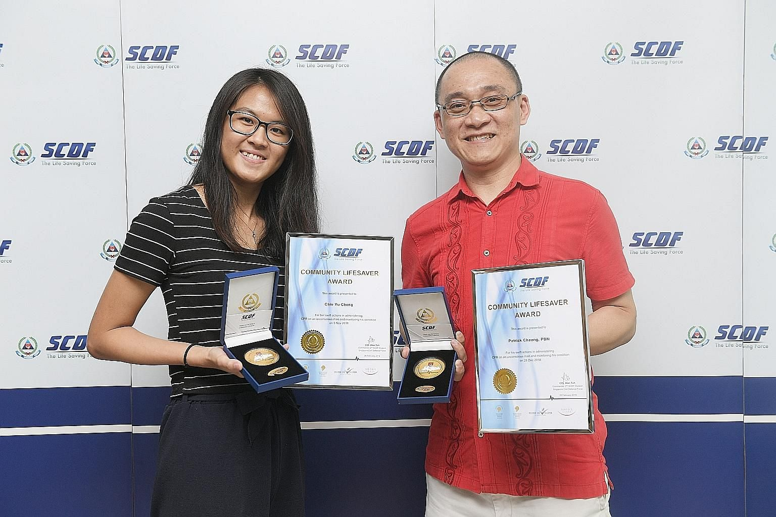 Ms Chiu Yu Cheng, 22, and Mr Patrick Cheong, 46, were awarded the Community Lifesaver Award by the Singapore Civil Defence Force yesterday for saving the lives of two people in separate incidents using cardiopulmonary resuscitation. They are register
