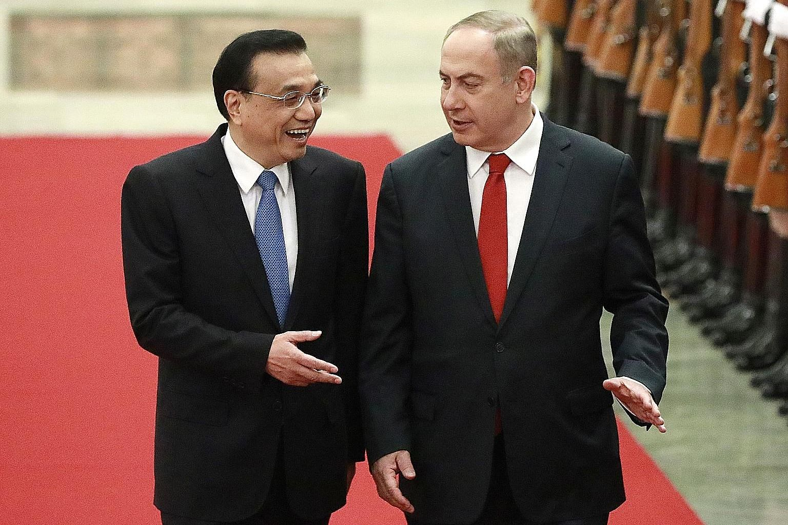 Chinese Premier Li Keqiang welcoming Israeli Prime Minister Benjamin Netanyahu to Beijing in 2017. The two countries are now growing closer and China has become the second most important trading partner for Israel after the US.