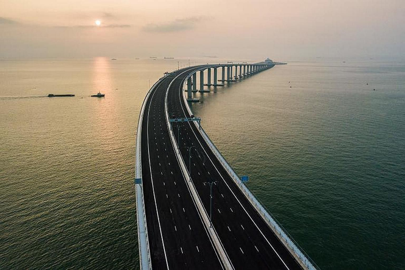 An aerial view of the Hong Kong-Zhuhai-Macau Bridge. China's Greater Bay Area plan includes nine cities in southern Guangdong province, Hong Kong and Macau. In creating a mega city cluster around the Pearl River Delta area, China aims to create an in