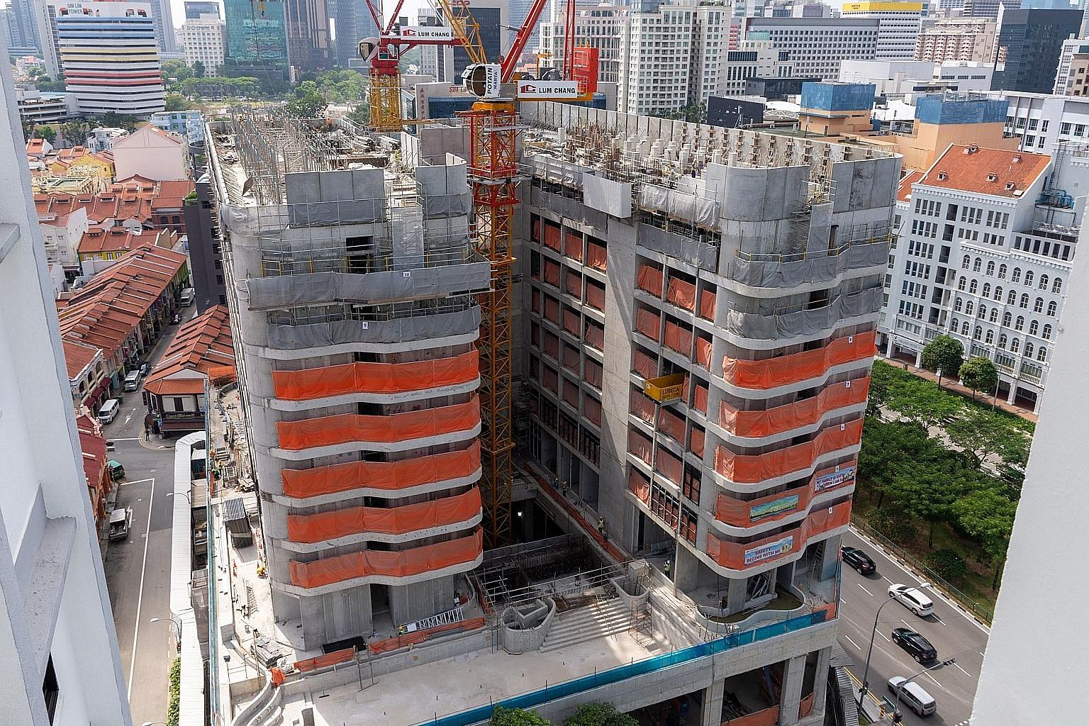 A view of the upcoming Tekka Place, which will be completed by the end of the year.The complex comprises a 10-storey main block and a seven-storey annex. One major tenant will be the rustic-themed XinTekka food hall, which will feature around26 stall