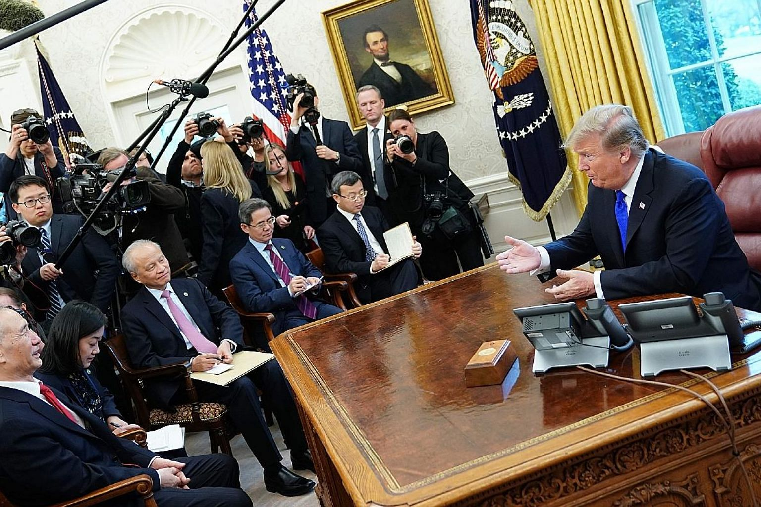 US President Donald Trump (above, right) meeting China's Vice-Premier Liu He in the Oval Office last month. With the US and China at odds, South-east Asia must adopt new approaches to foreign policy in order to manage its relations with both sides.