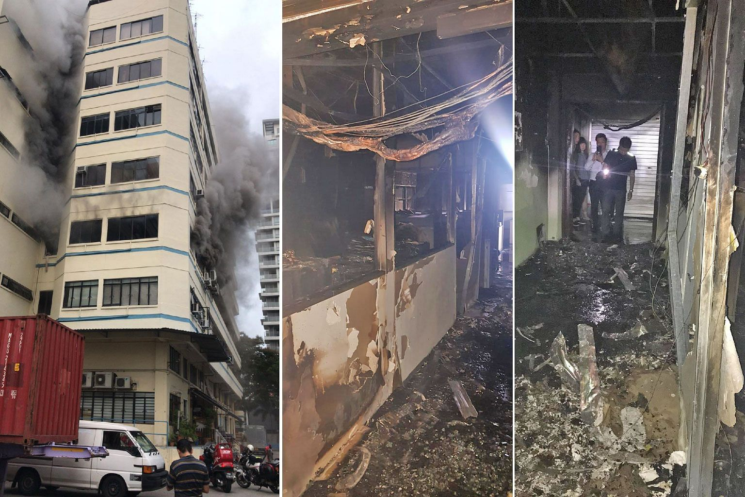 Smoke caused by a fire billowing out of a building near Balestier Road yesterday, and the blackened interior of the third-floor office where the blaze took place. Computers, furniture and air-conditioning units were destroyed in the office of N.K. Lu