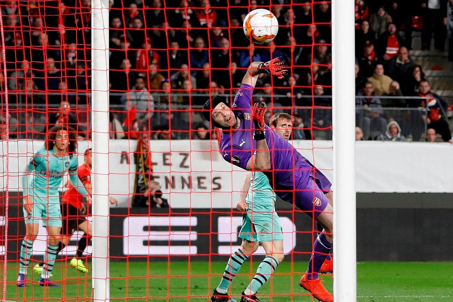 Arsenal's Nacho Monreal turning a cross past his own custodian Petr Cech and into goal for Rennes to lead 2-1 in their Europa League last-16 first leg at Roazhon Park. The French Ligue 1 side lead 3-1 on aggregate.