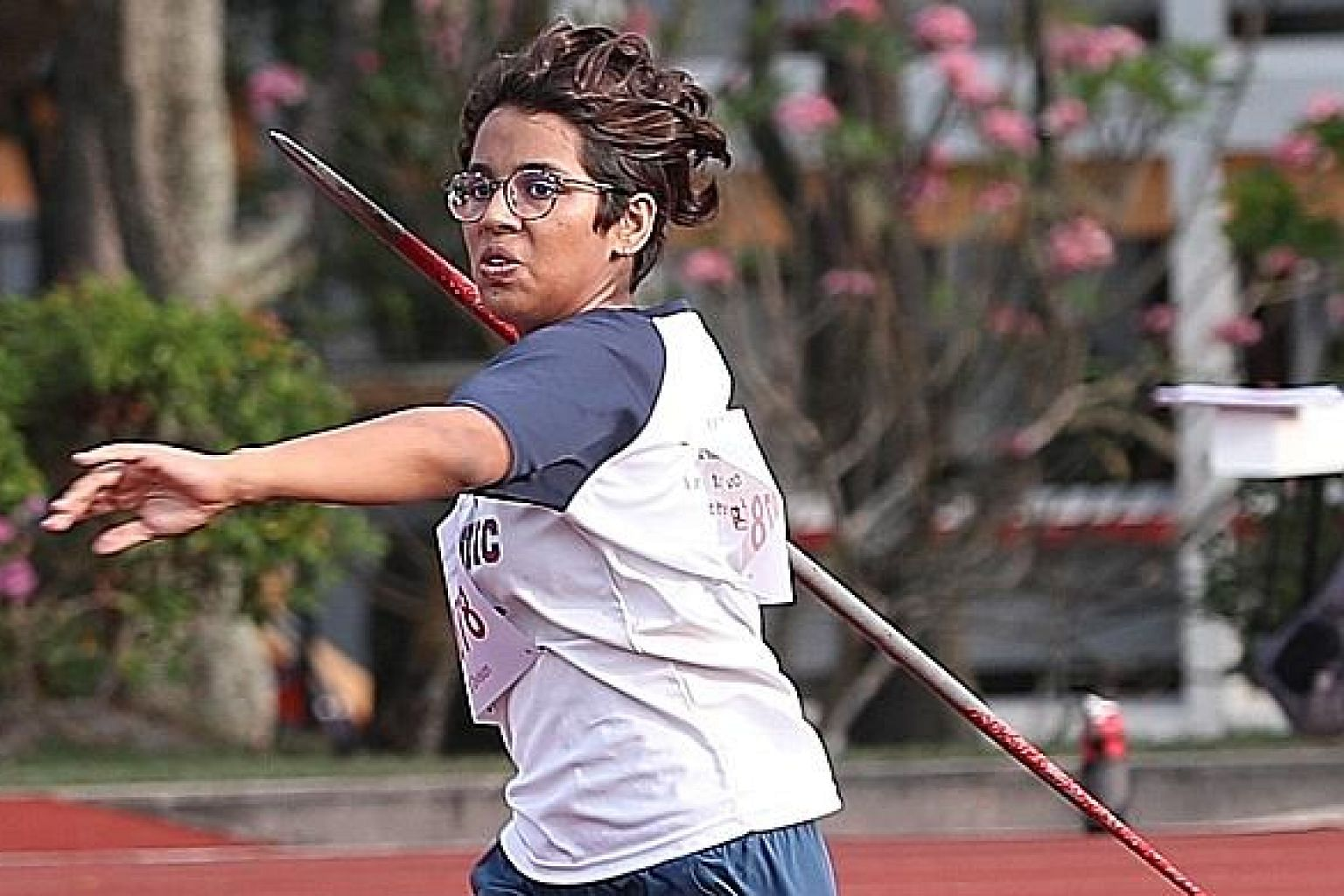 Cedar Girls' Daakshayani Negi showing good form en route to her winning throw of 34.70m at the Schools National athletics meet.