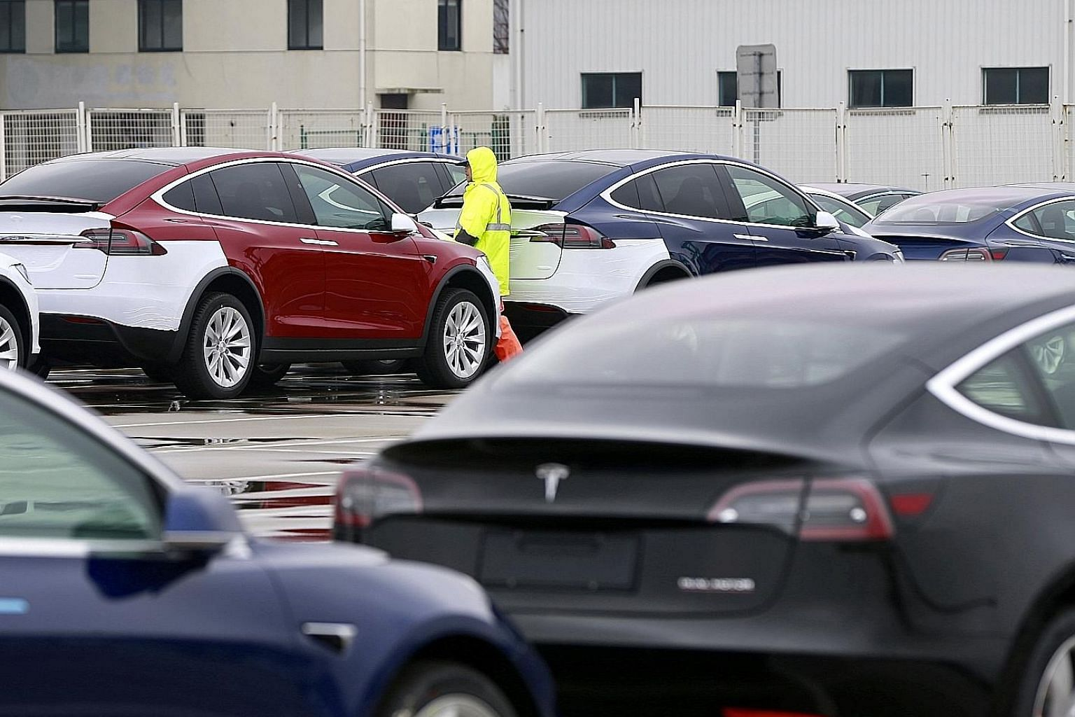 Tesla cars at a port in Shanghai. The US electric carmaker is popular in China - the world's biggest car market - but Chinese brands are catching up.
