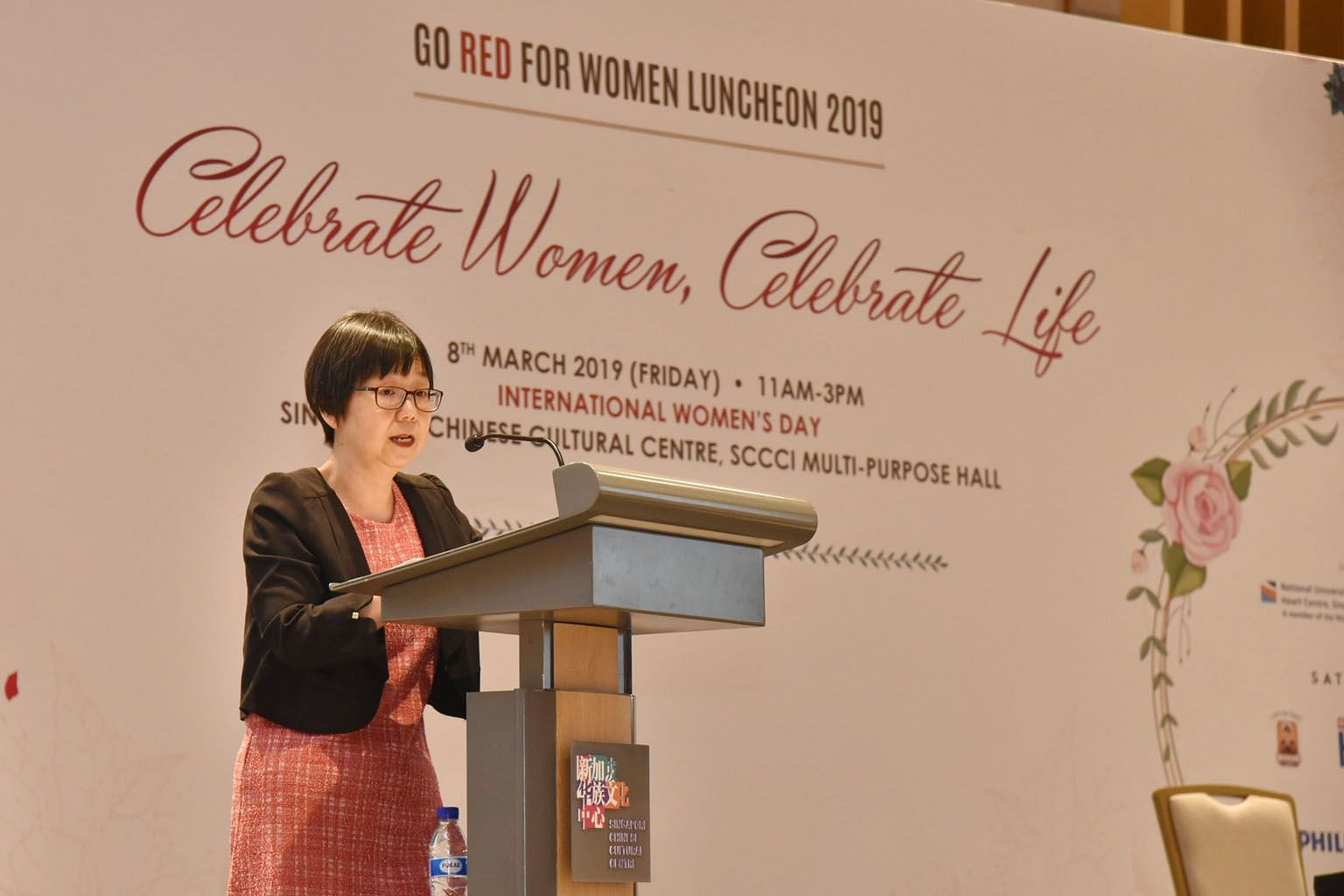 Dr Goh Ping Ping, chairman of the Go Red for Women Campaign here and a Singapore Heart Foundation board member, speaking at the Go Red For Women Luncheon 2019 yesterday.