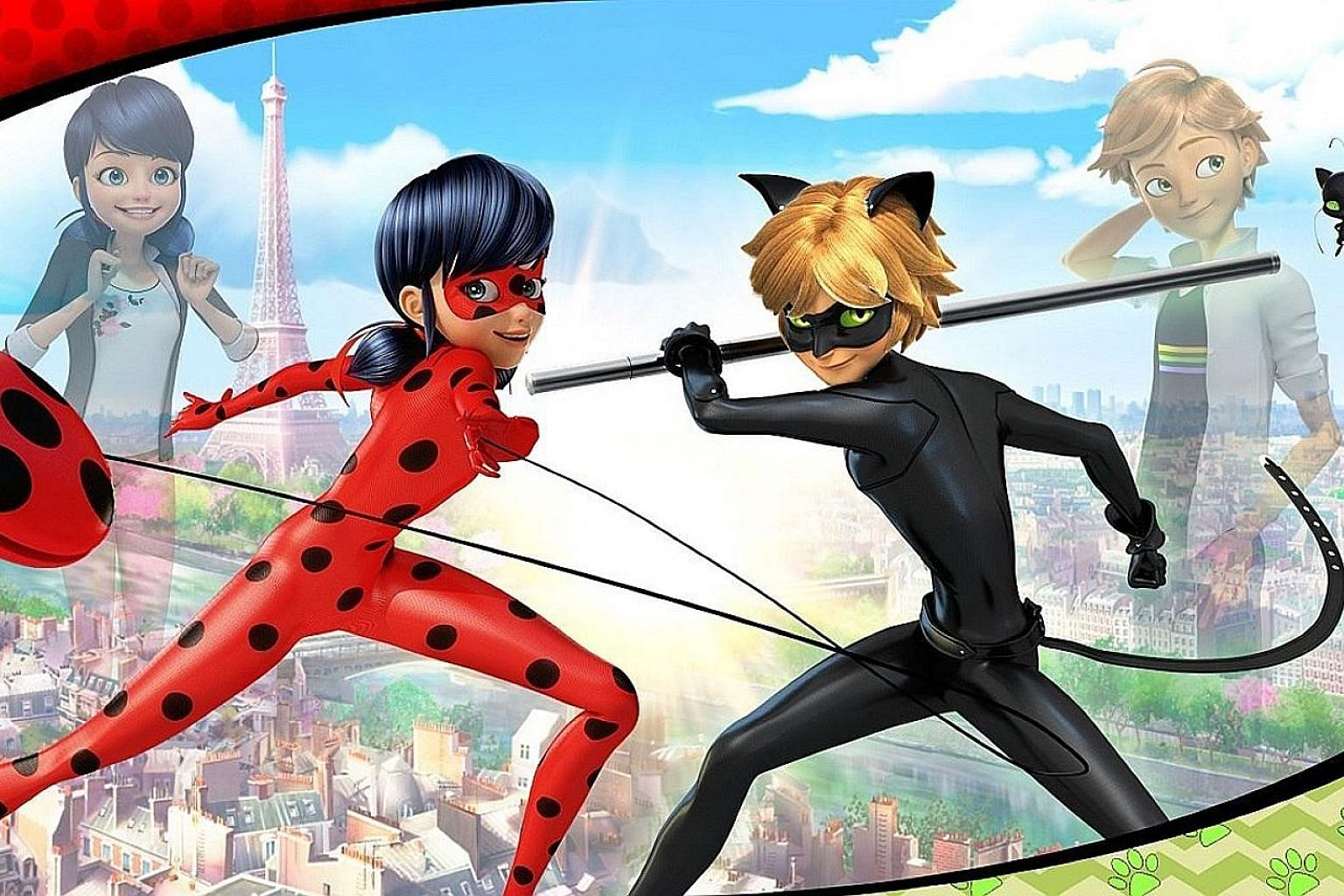 Animated series Miraculous: Tales Of Ladybug & Cat Noir (left) centres on two teenage protagonists Marinette Dupain-Cheng and Adrien Agreste, who also double as superheroes.
