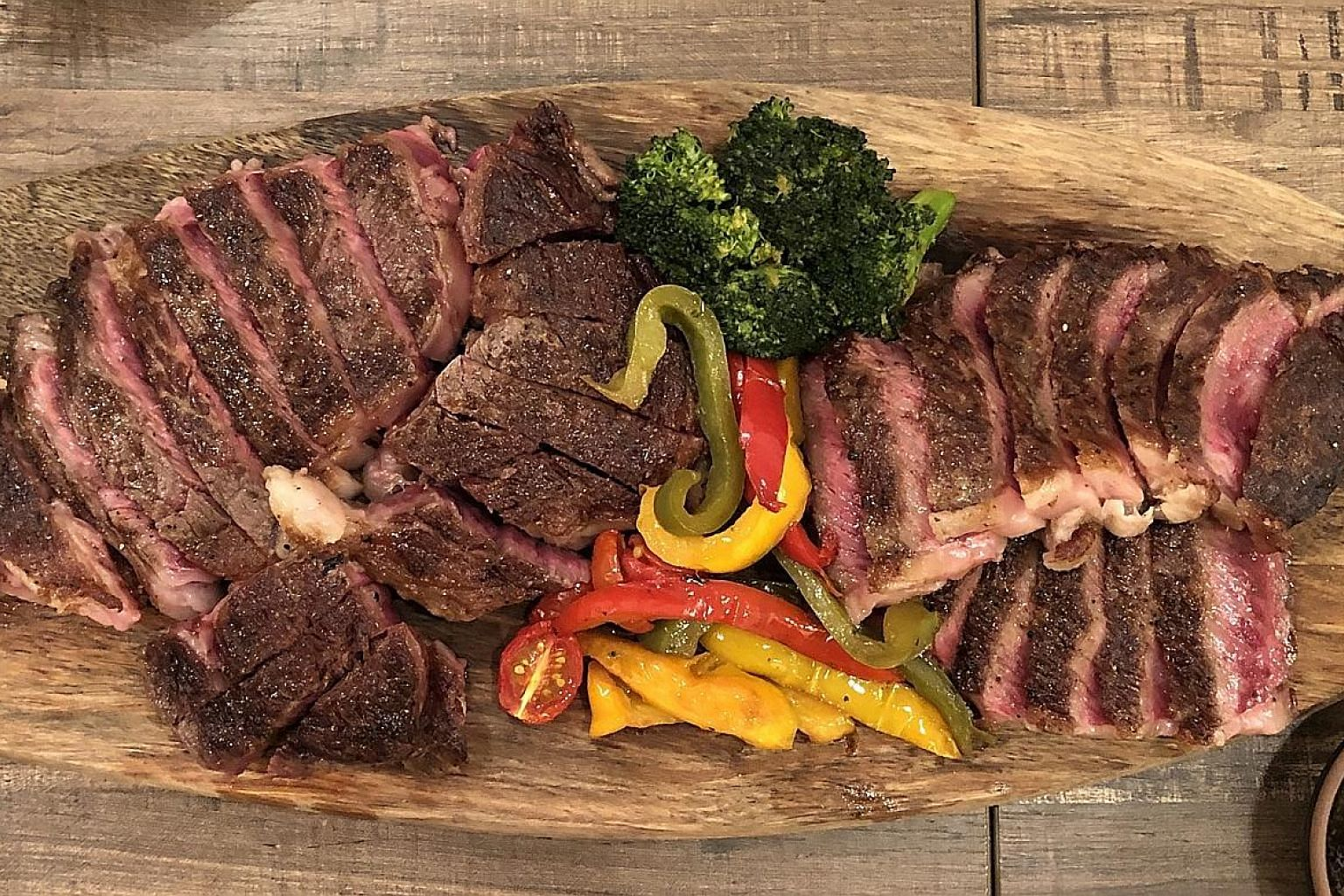 A combination platter of ribeye and sirloin.