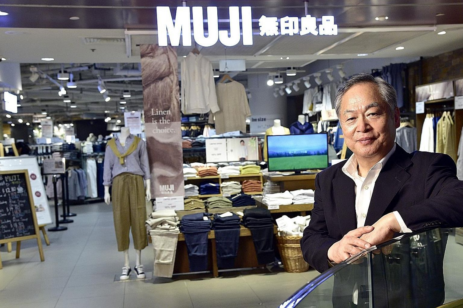 Muji president Satoru Matsuzaki says there will be 13 stores in Singapore by the end of the year and wants to triple the size of existing stores. This would make the stores large enough to offer a wider range of products and services like workshops.