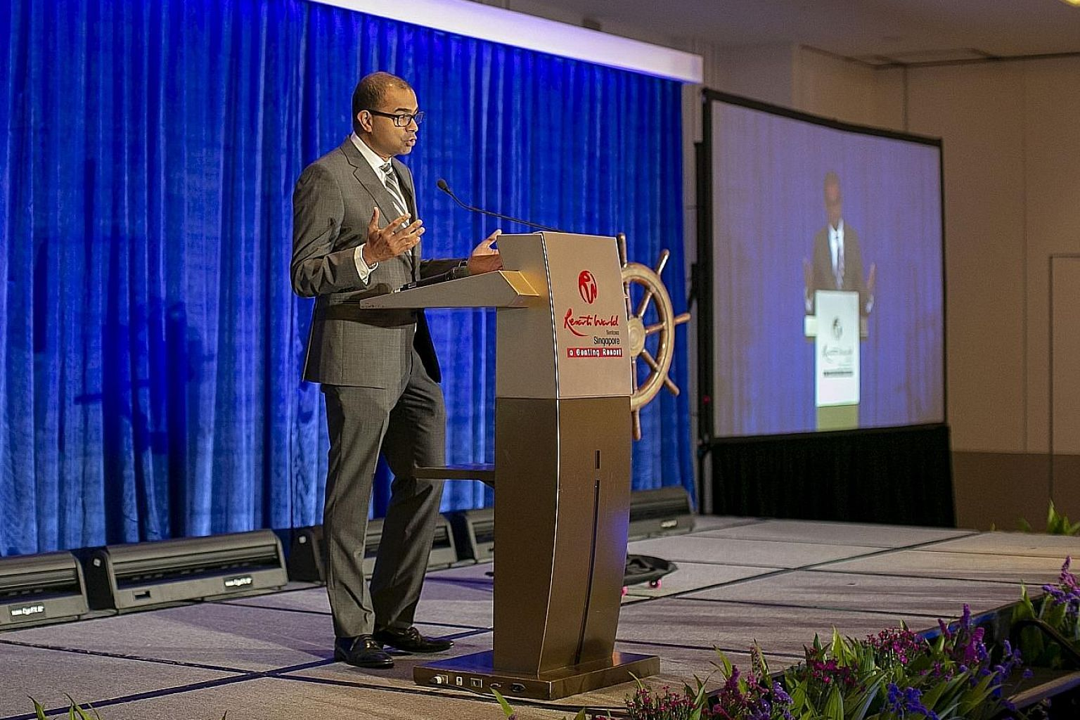Senior Minister of State for Transport Janil Puthucheary speaking at the first World Congress on Maritime Heritage, held at Resorts World Sentosa's Equarius Hotel, yesterday.