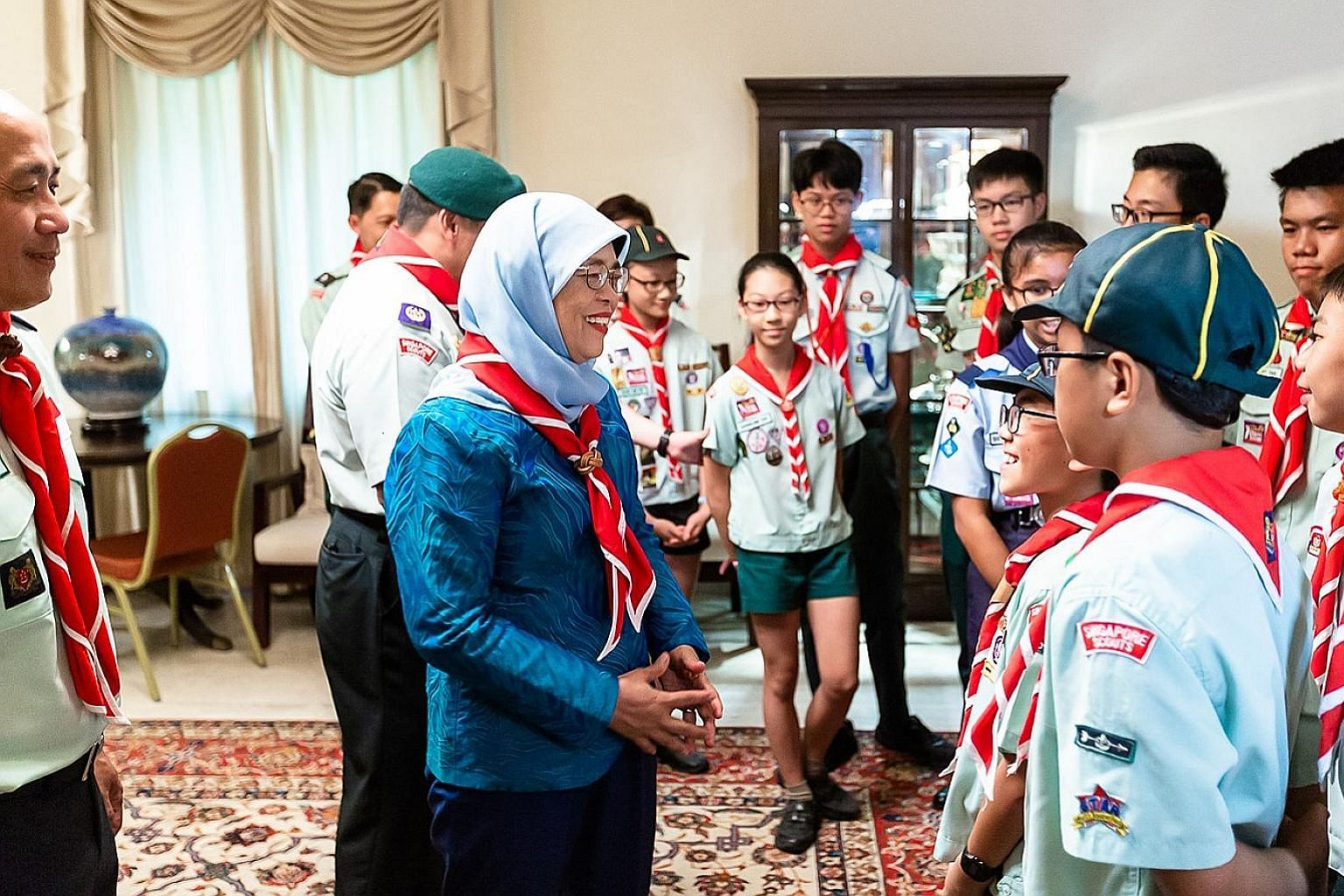 President Halimah Yacob launched the annual Scout Job Week at the Istana Villa yesterday. The objective of Scout Job Week is to ingrain a hardworking spirit and teach scouts to appreciate the value of honest work.