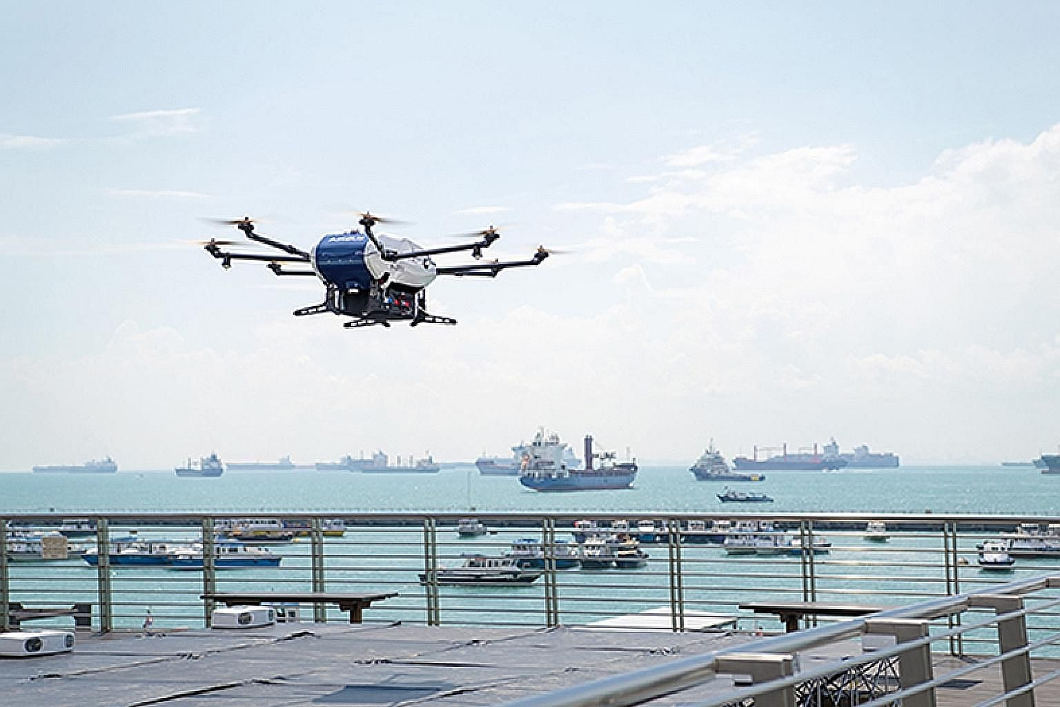 A drone test being conducted off the Marina South Pier. The drone system is six times faster than delivering by boat and lowers costs by up to 90 per cent, cuts carbon emissions and reduces the risk of maritime accidents.